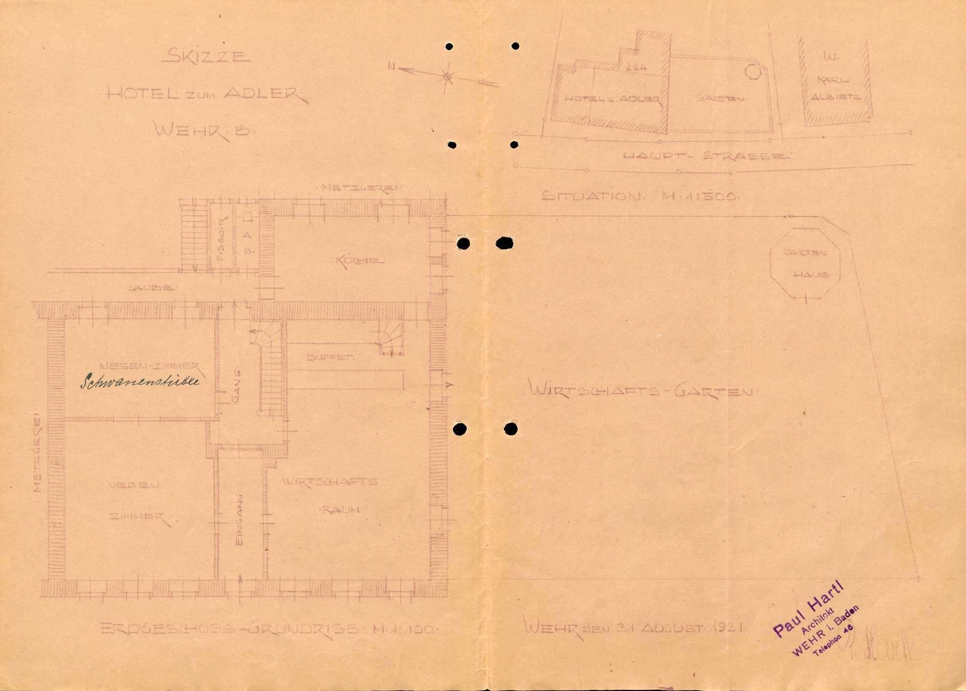 Konzessionierung und Betrieb der Realgastwirtschaft Zum Adler in Wehr, Bild 1