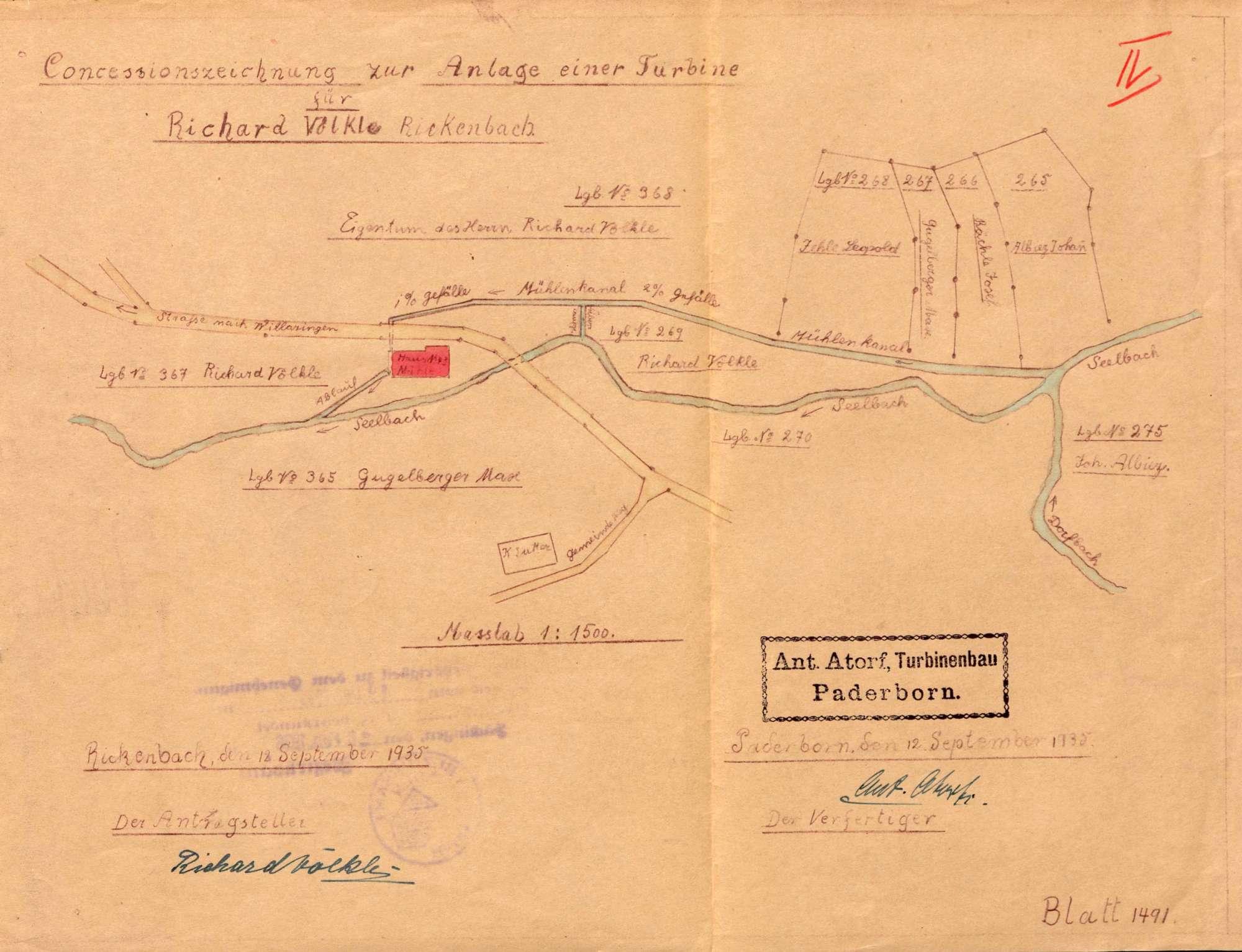 Gesuch des Müllers Richard Völkle in Rickenbach um Genehmigung zum Einbau einer Turbine an Stellte des Wasserrades in seine Wasserkraftanlage, Bild 1