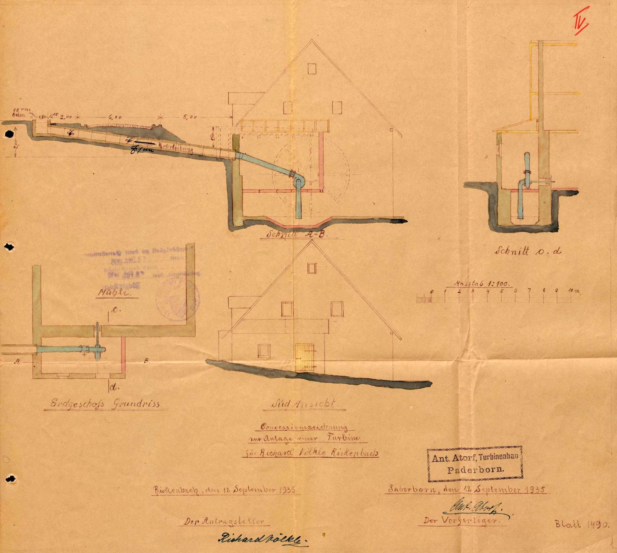 Gesuch des Müllers Richard Völkle in Rickenbach um Genehmigung zum Einbau einer Turbine an Stellte des Wasserrades in seine Wasserkraftanlage, Bild 2