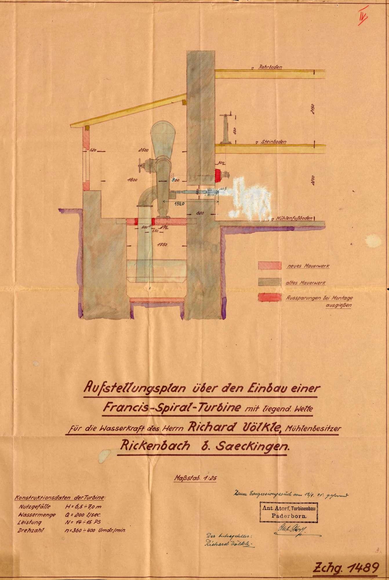 Gesuch des Müllers Richard Völkle in Rickenbach um Genehmigung zum Einbau einer Turbine an Stellte des Wasserrades in seine Wasserkraftanlage, Bild 3