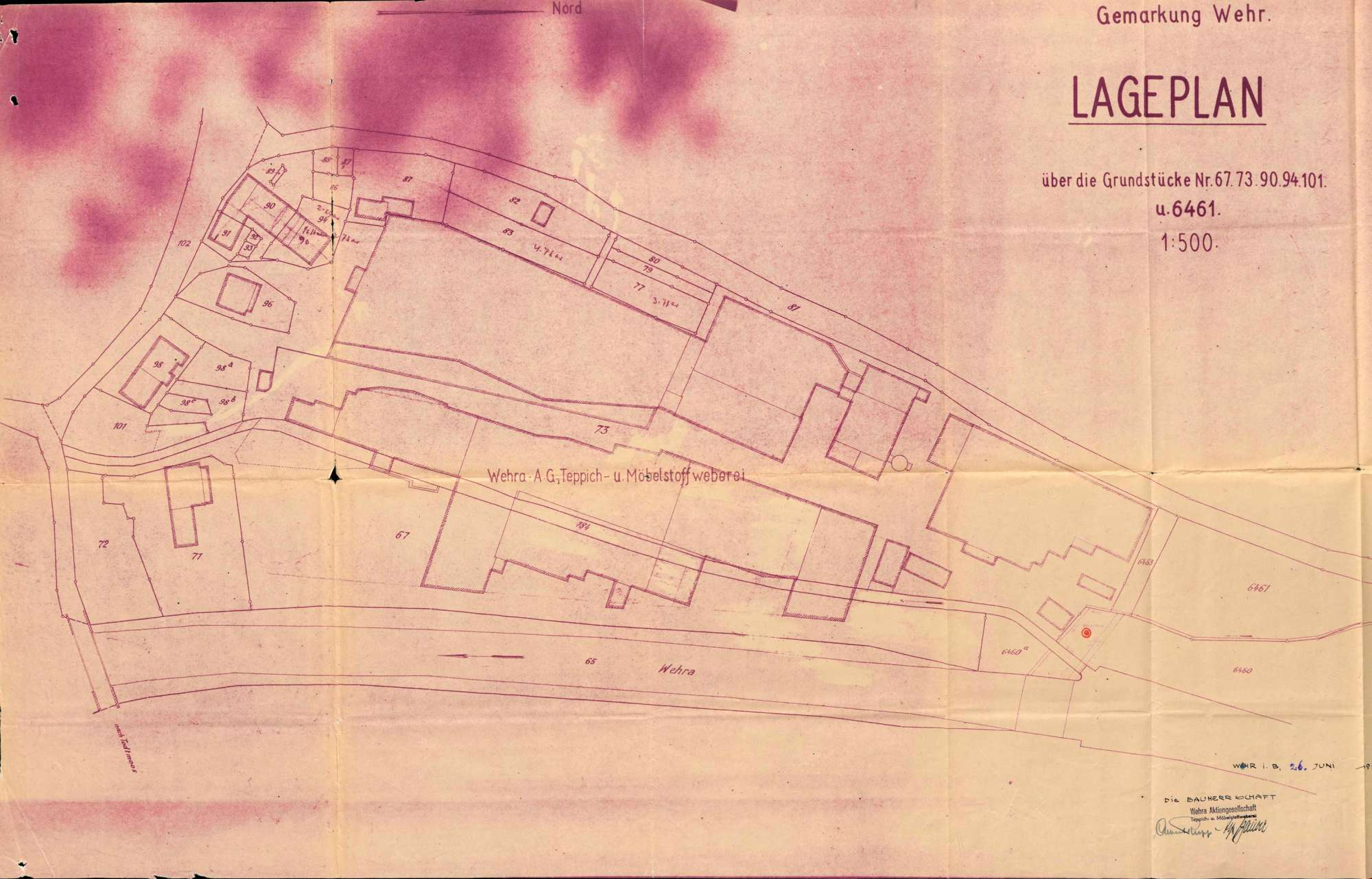 Antrag der Firma Wehra AG in Wehr auf wasserpolizeiliche Genehmigung zur Erstellung einer Brunnenanlage, Bild 1