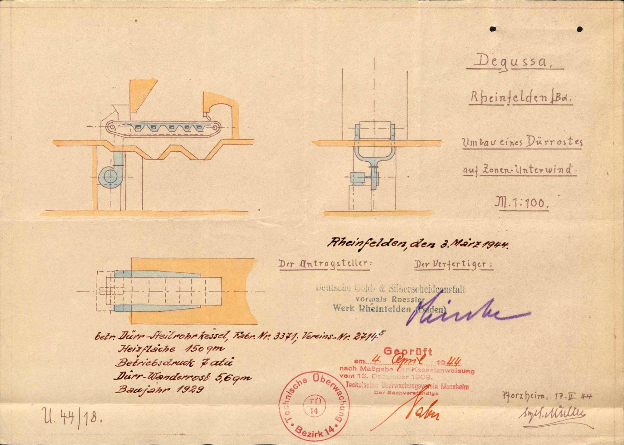 Dampfkessel der Firma Deutsche Gold- und Silberscheideanstalt, vormals Rössler Werk, in Rheinfelden (Baden), Bild 1