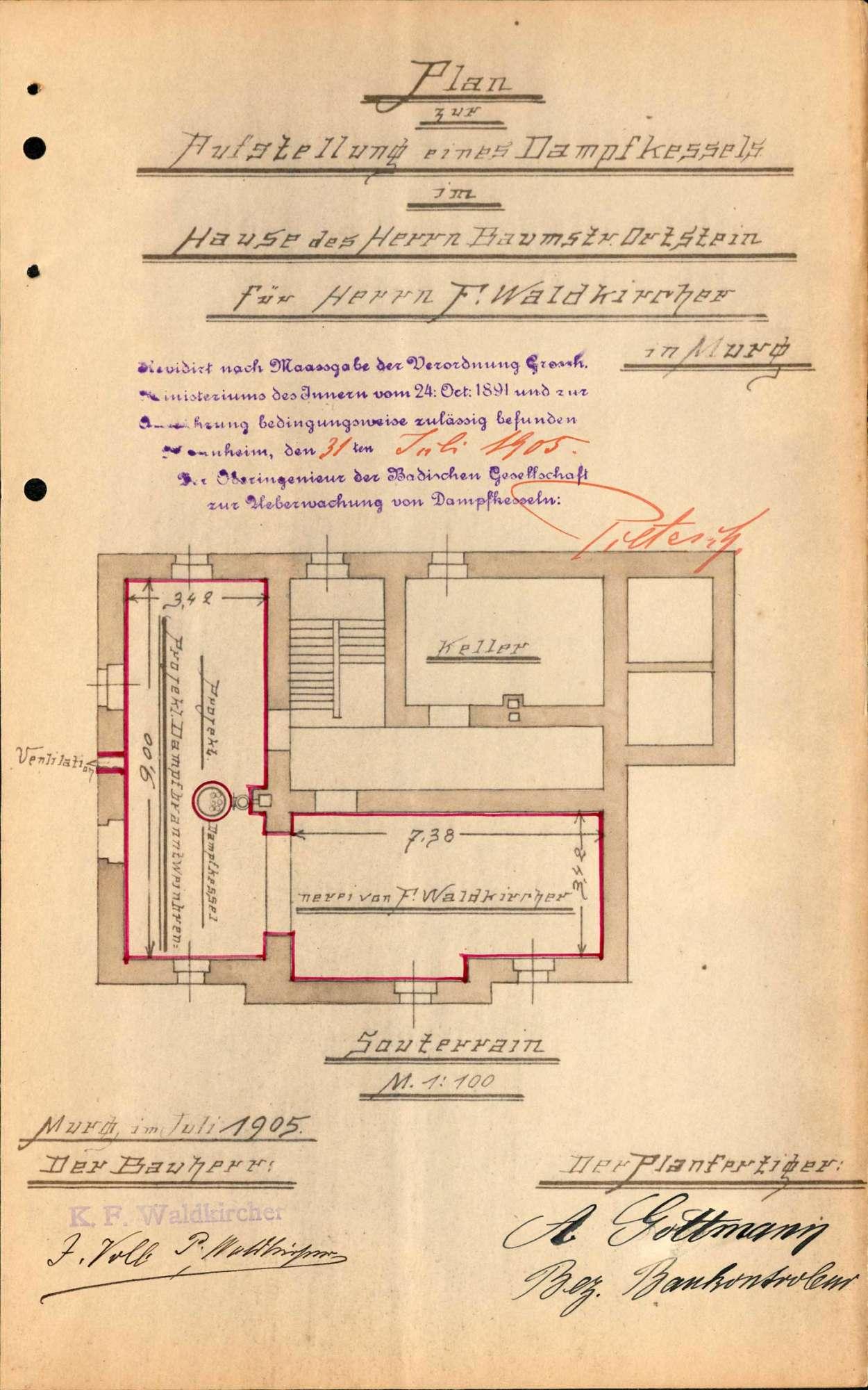 Dampfkessel der Firma Branntweinbrennerei K. F. Waldkircher in Murg, Bild 2