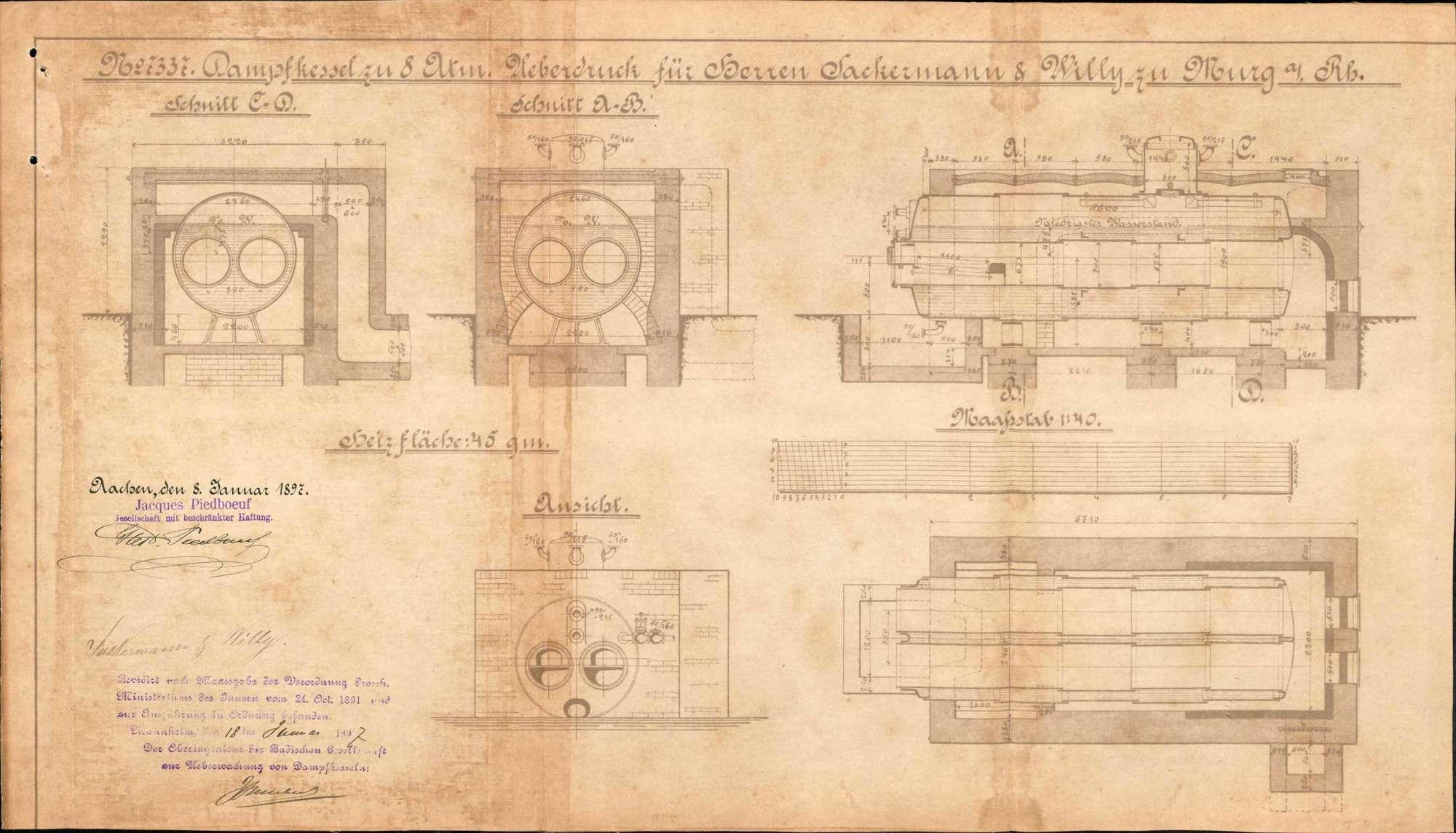 Dampfkessel der Firma Färberei Sackermann & Willy in Murg, Bild 1