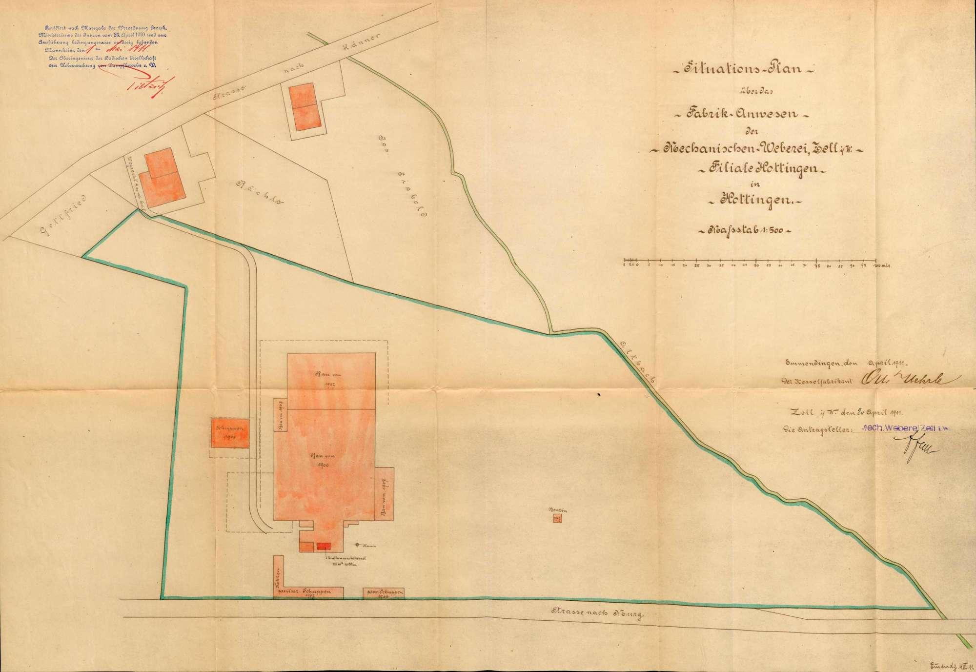 Dampfkessel der Firma Mechanische Weberei Zell im Wiesental in Hottingen, Bild 1