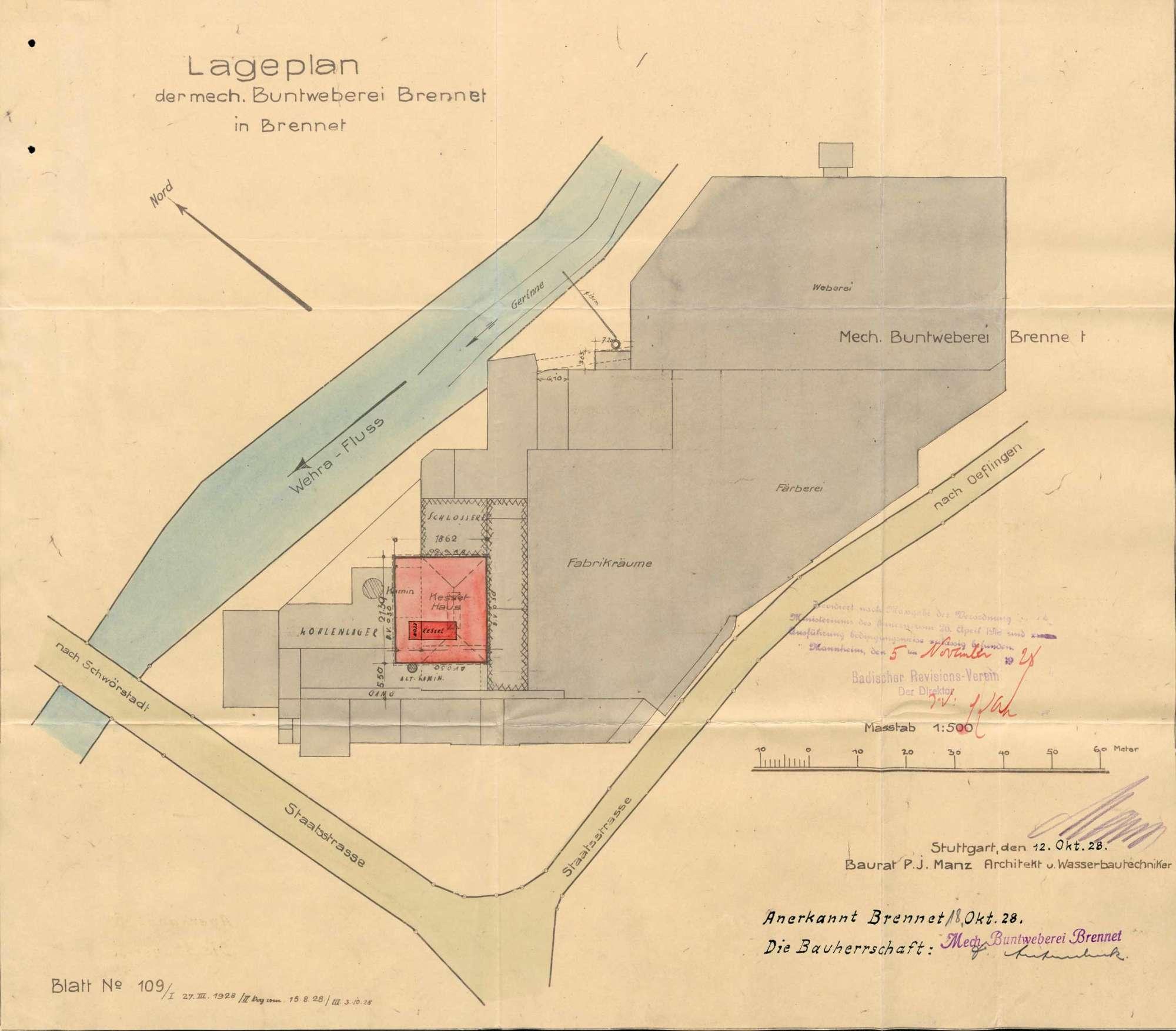 Dampfkessel der Firma C. A. Hipp & Co., Mechanische Buntweberei Brennet, in Öflingen, Bild 1