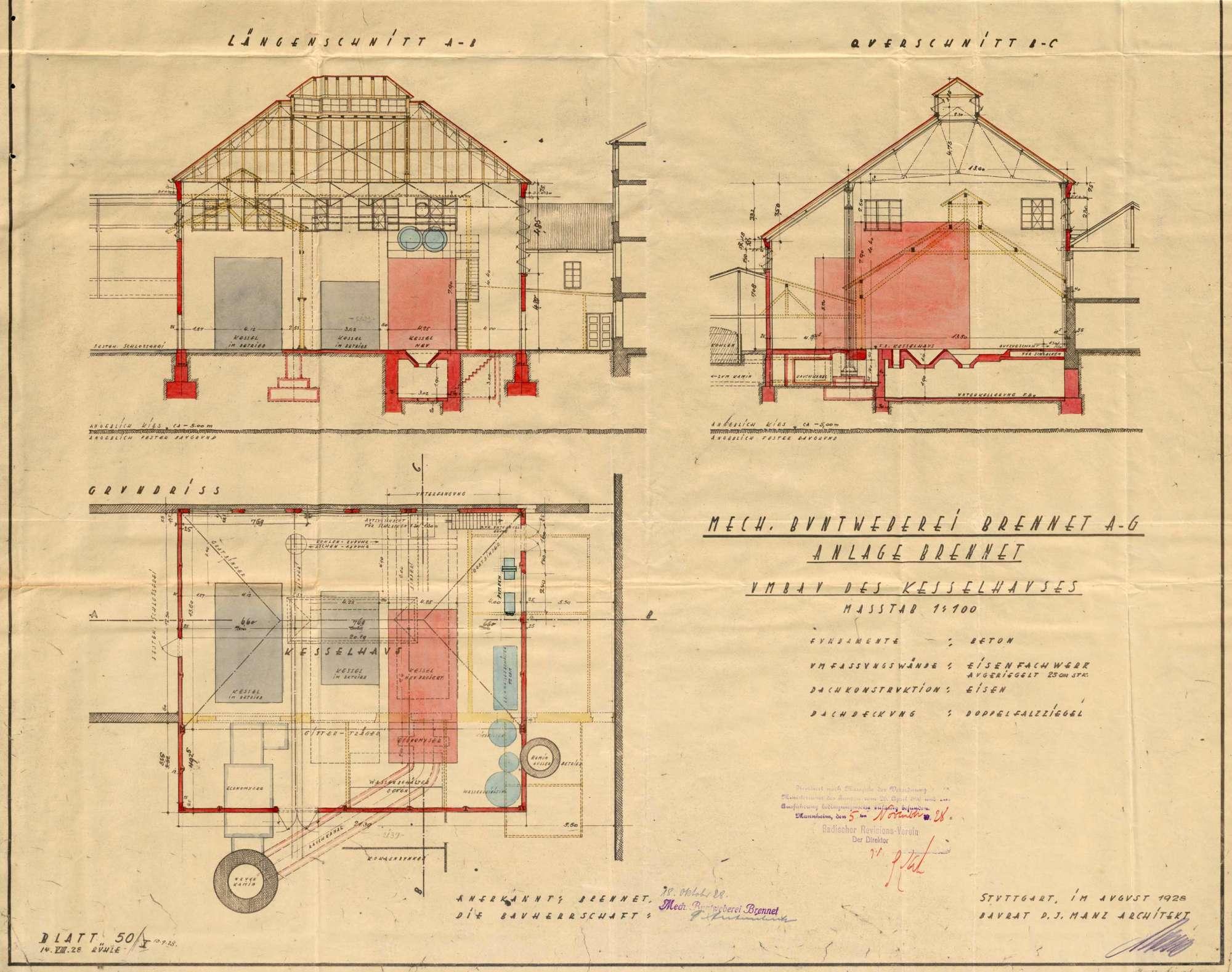 Dampfkessel der Firma C. A. Hipp & Co., Mechanische Buntweberei Brennet, in Öflingen, Bild 2