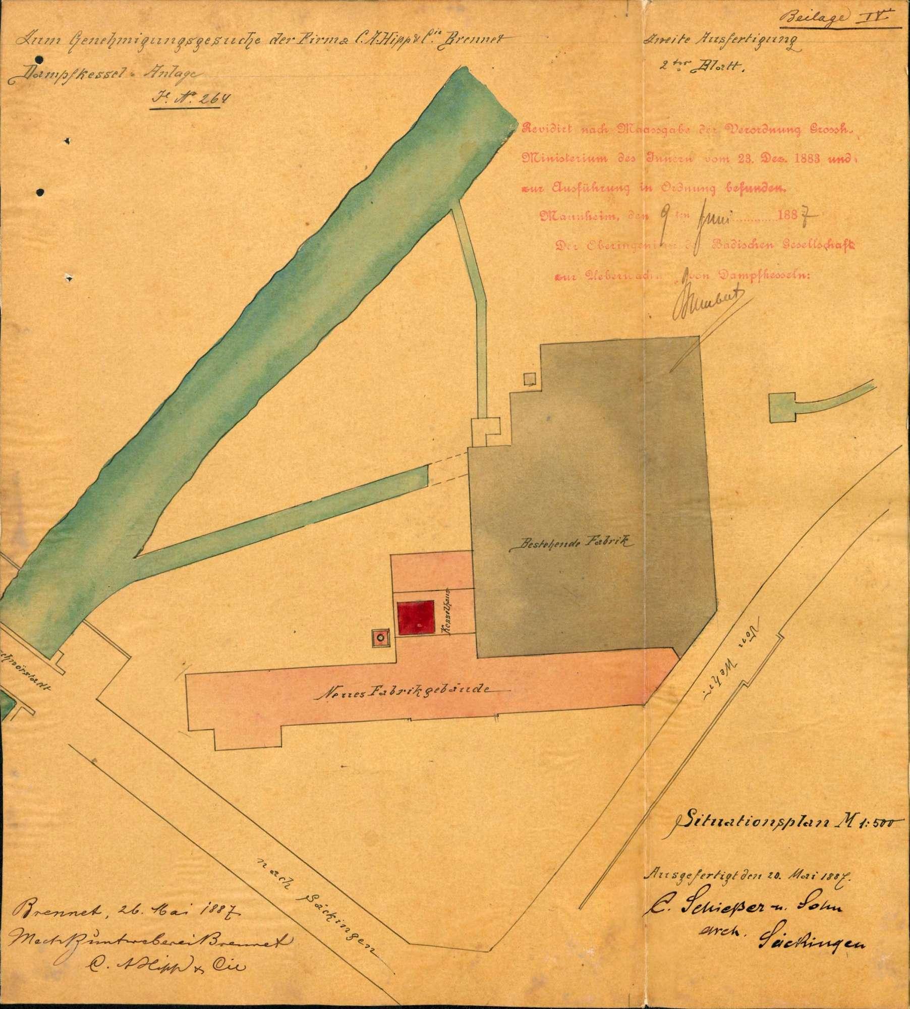 Dampfkessel der Firma C. A. Hipp & Co., Mechanische Buntweberei Brennet, in Brennet, Bild 1