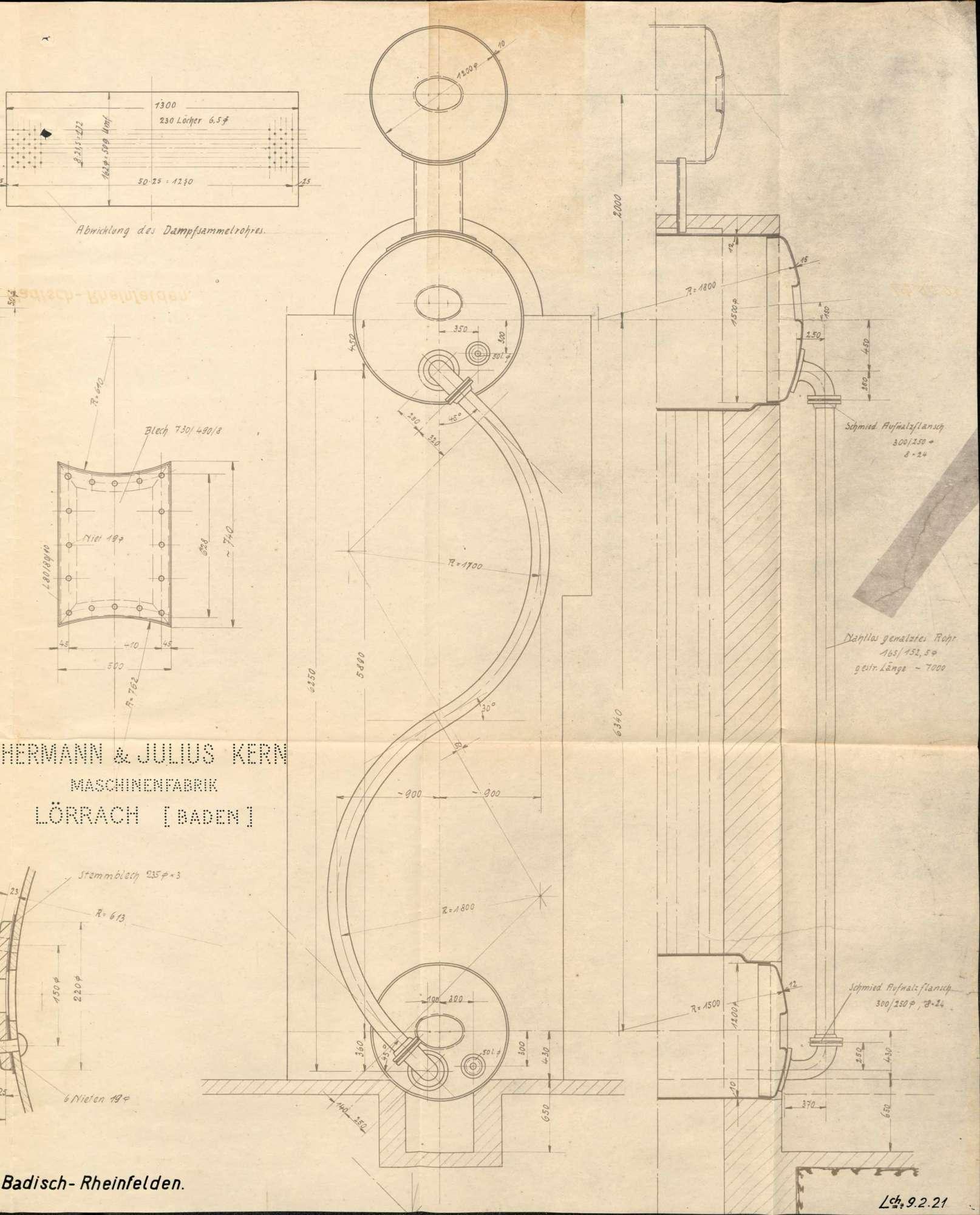 Dampfkessel der Firma Gold- und Silberscheideanstalt, vormals Rössler AG, in Badisch Rheinfelden bzw. Rheinfelden (Baden), Bild 2