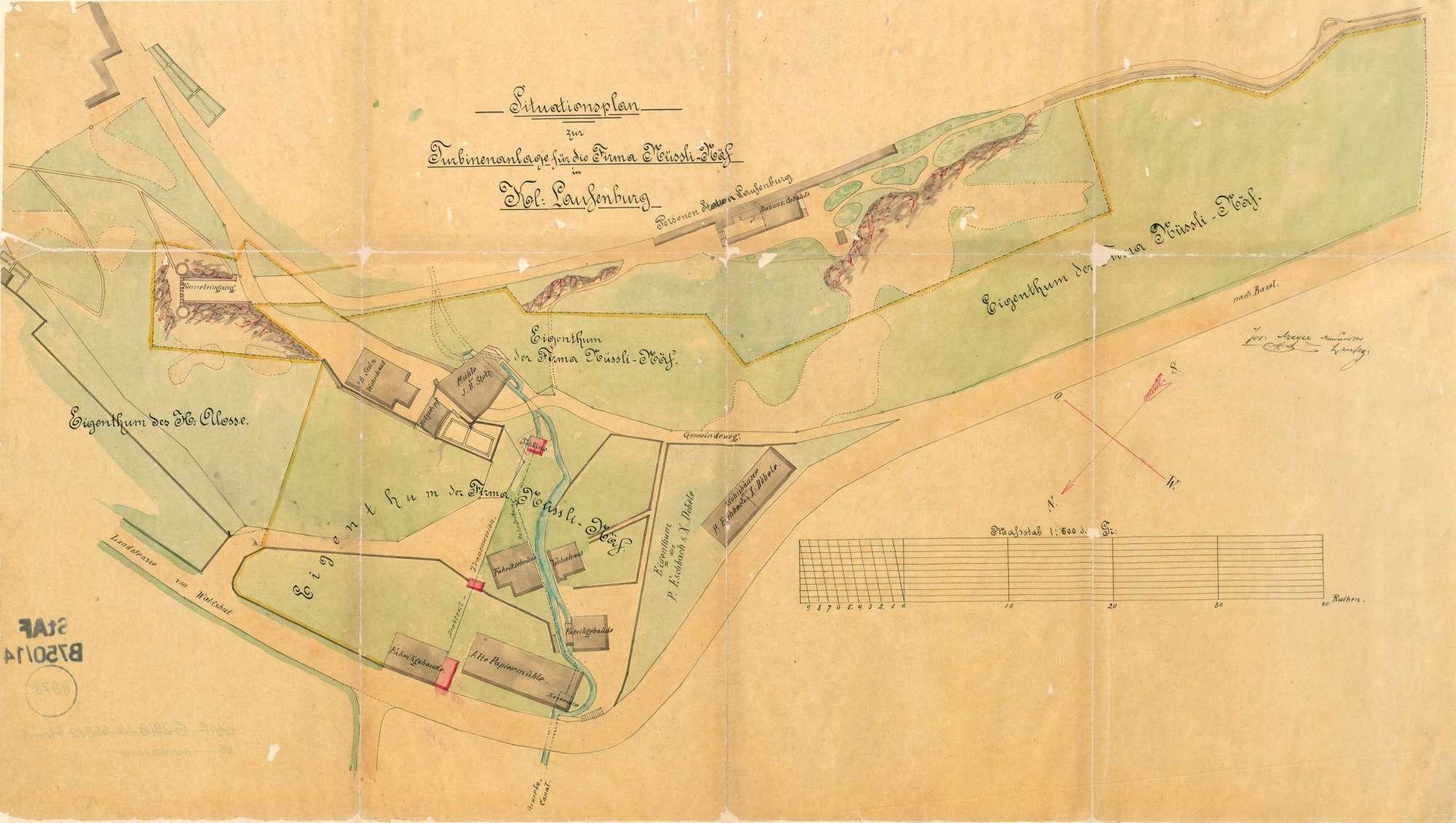 Situationsplan zur Turbinenanlage für die Firma Nüssli-Näf in Kleinlaufenburg, Bild 1
