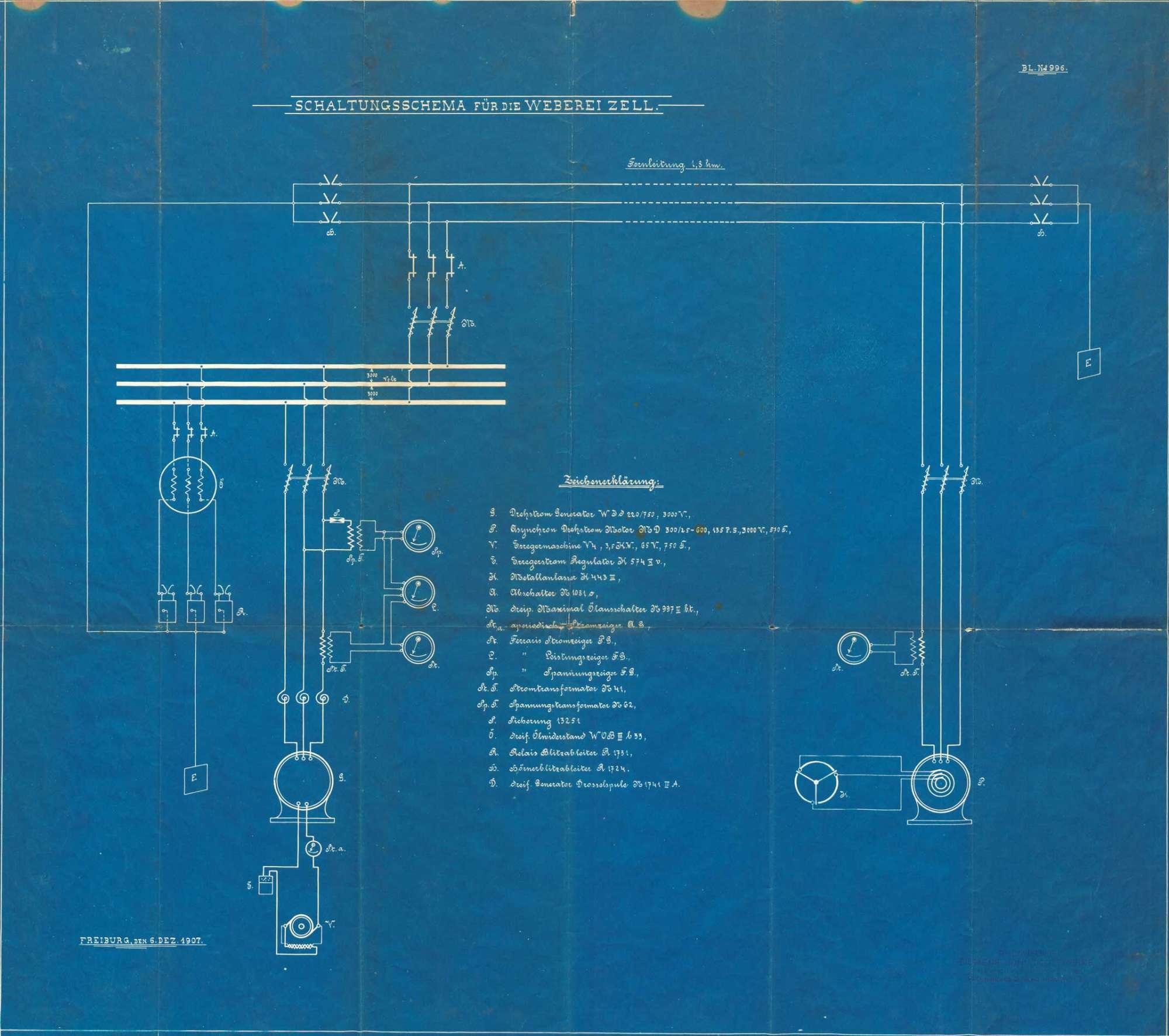 Schaltungsschema für die Weberei in Zell im Wiesental/Schönau AG, Bild 1