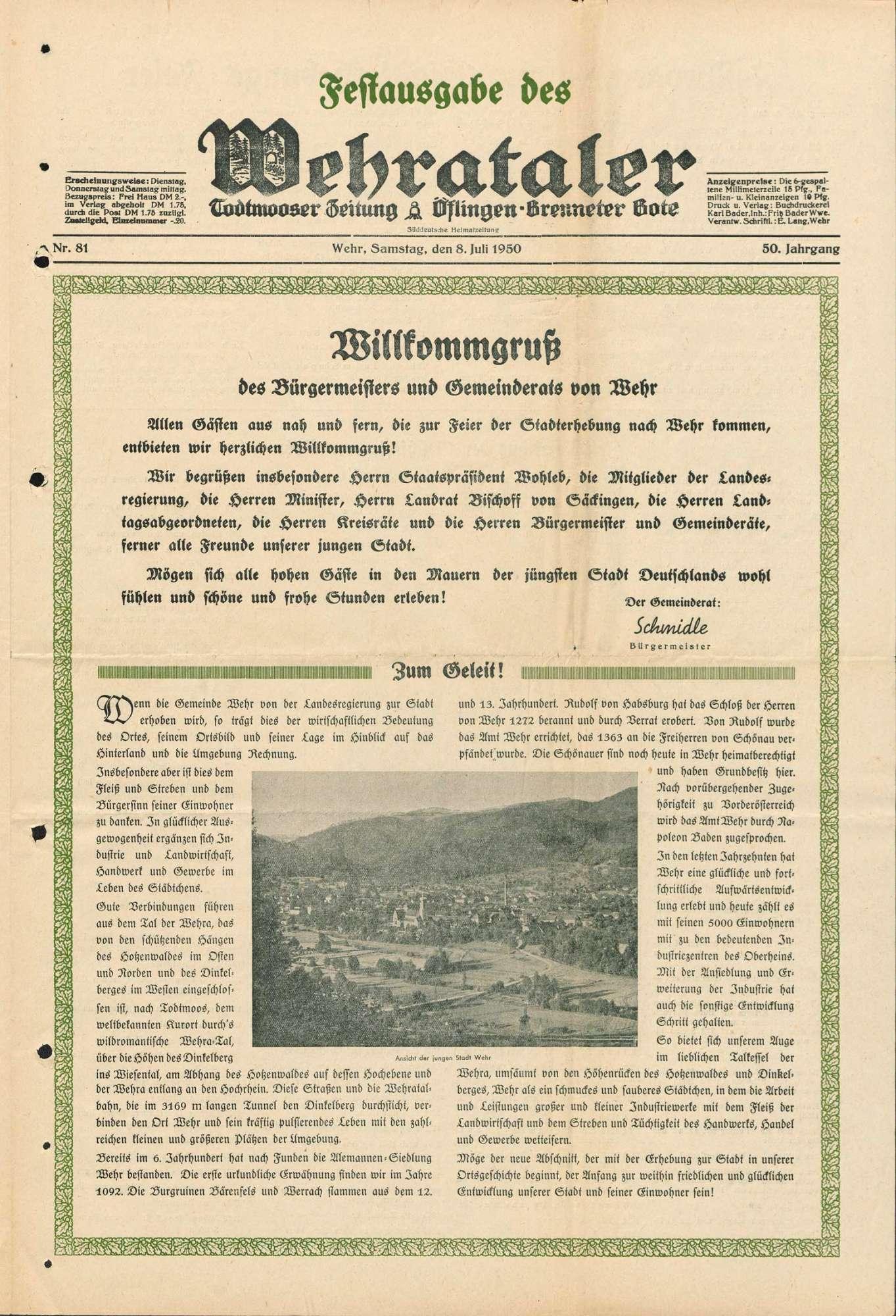 Verleihung der Bezeichnung Stadt an die Gemeinde Wehr, Bild 2