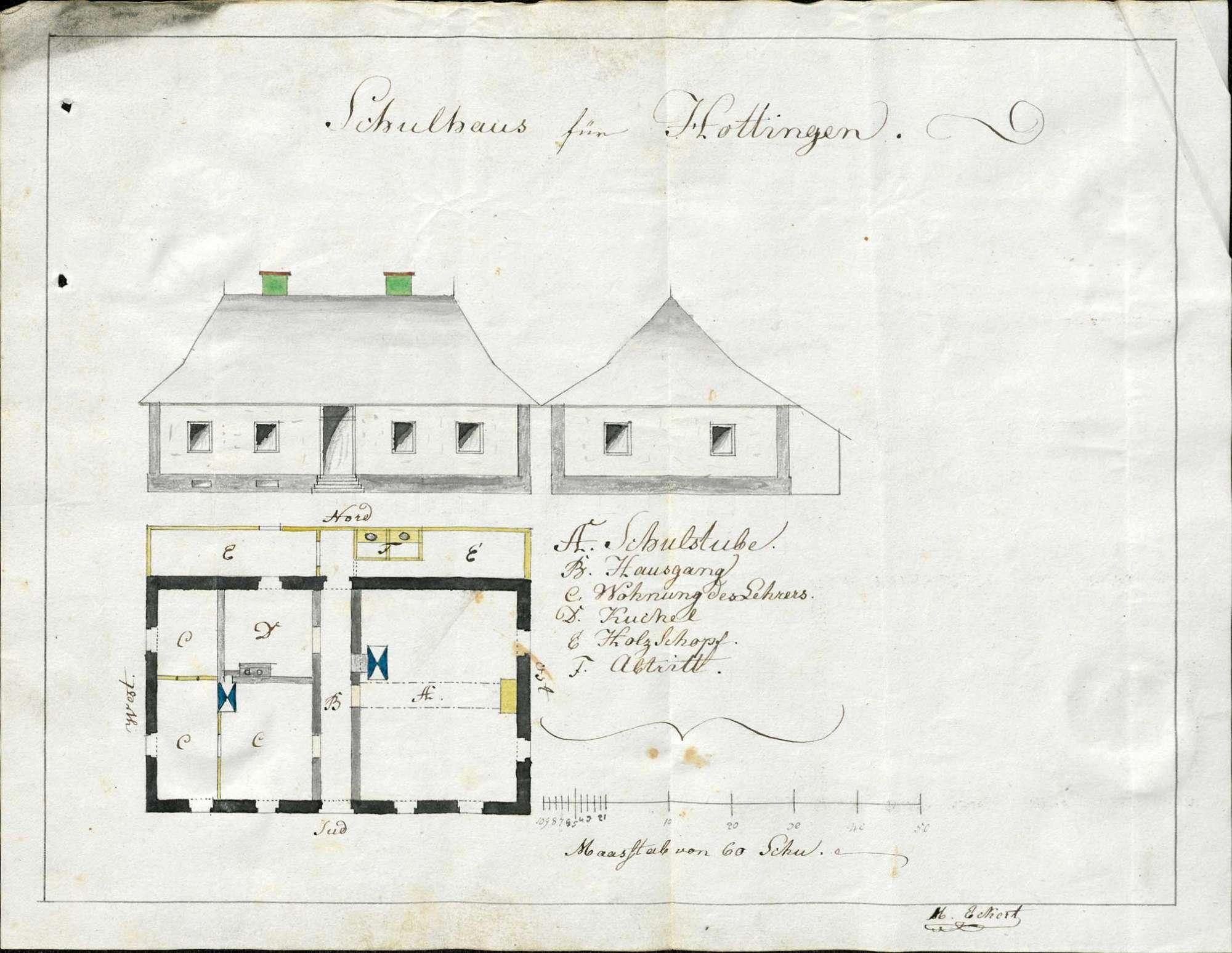 Bau eines Schulhauses in Hottingen, Bild 1