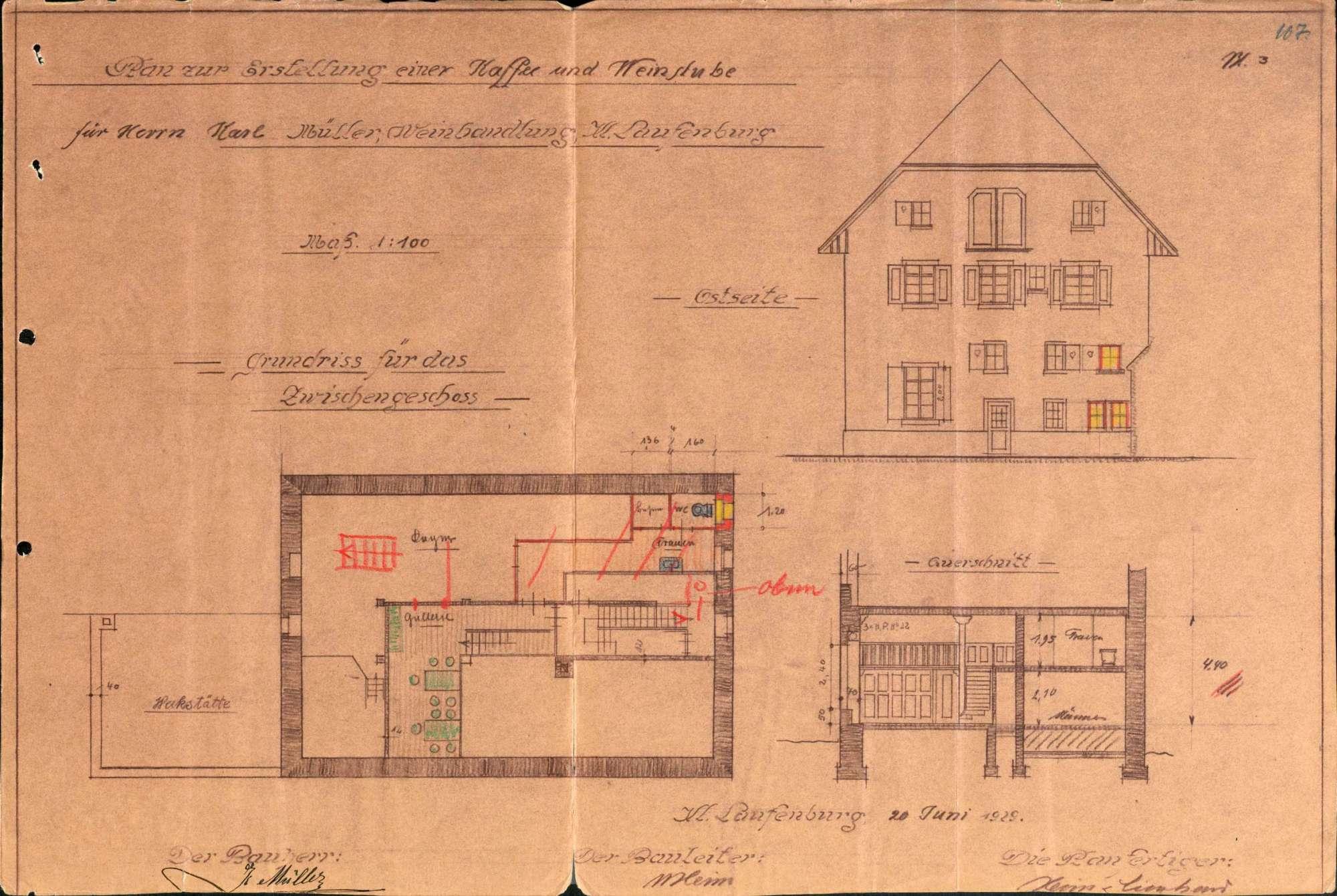 Konzessionierung und Betrieb der Kaffee- und Weinstube des Karl Müller, Weinhandlung in Kleinlaufenburg bzw. Laufenburg (Baden), Bild 3