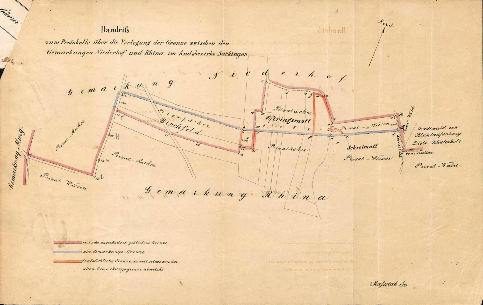 Katastervermessung der Gemarkung Rhina, Bild 1