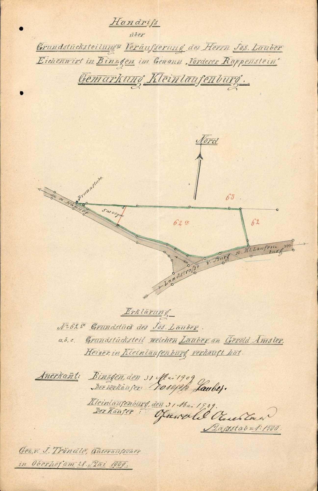 Teilung von Grundstücken auf Gemarkung Kleinlaufenburg bzw. Laufenburg (Baden) unter dem gesetzlichen Maß, Bild 1