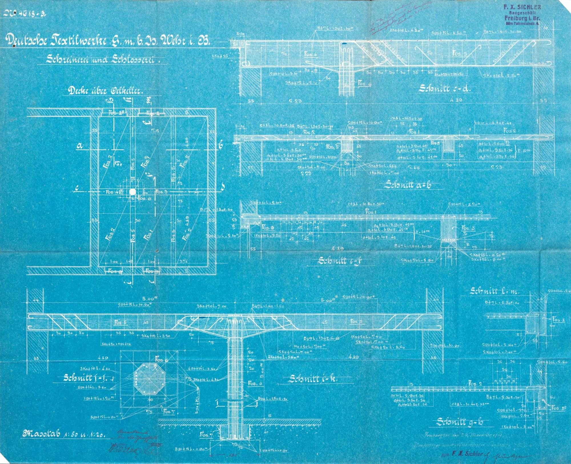 Gesuch der deutschen Textilwerke GmbH Wehr um Genehmigung zur Erstellung einer Fabrikanlage und eines Beamtenwohnhauses in Säckingen, Plan-4618-3