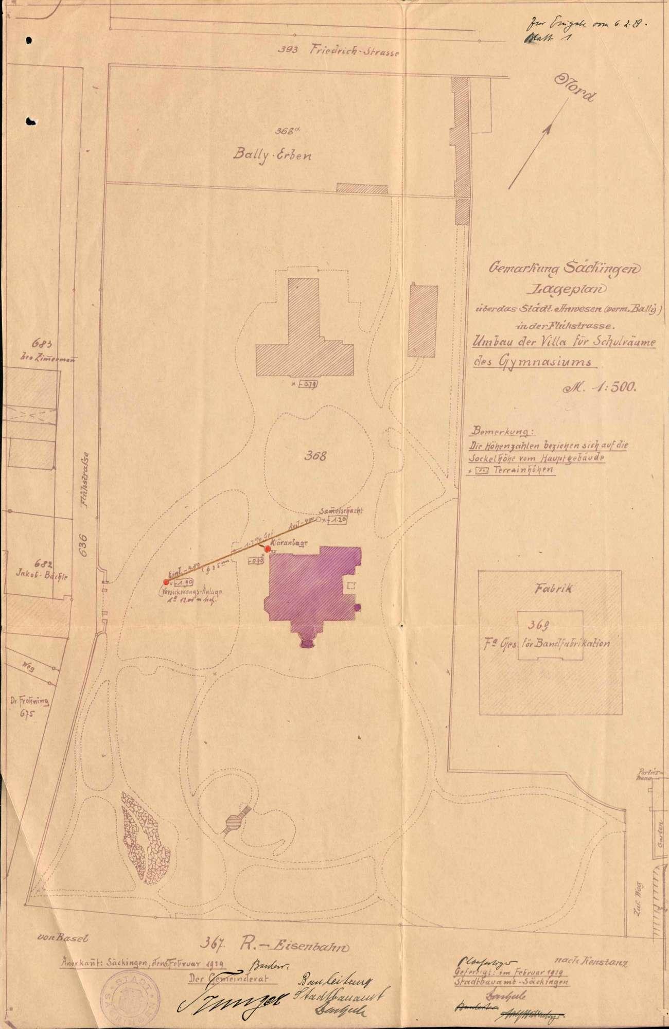 Erstellung von Schulräumlichkeiten für das Realgymnasium in Säckingen, Bild 1
