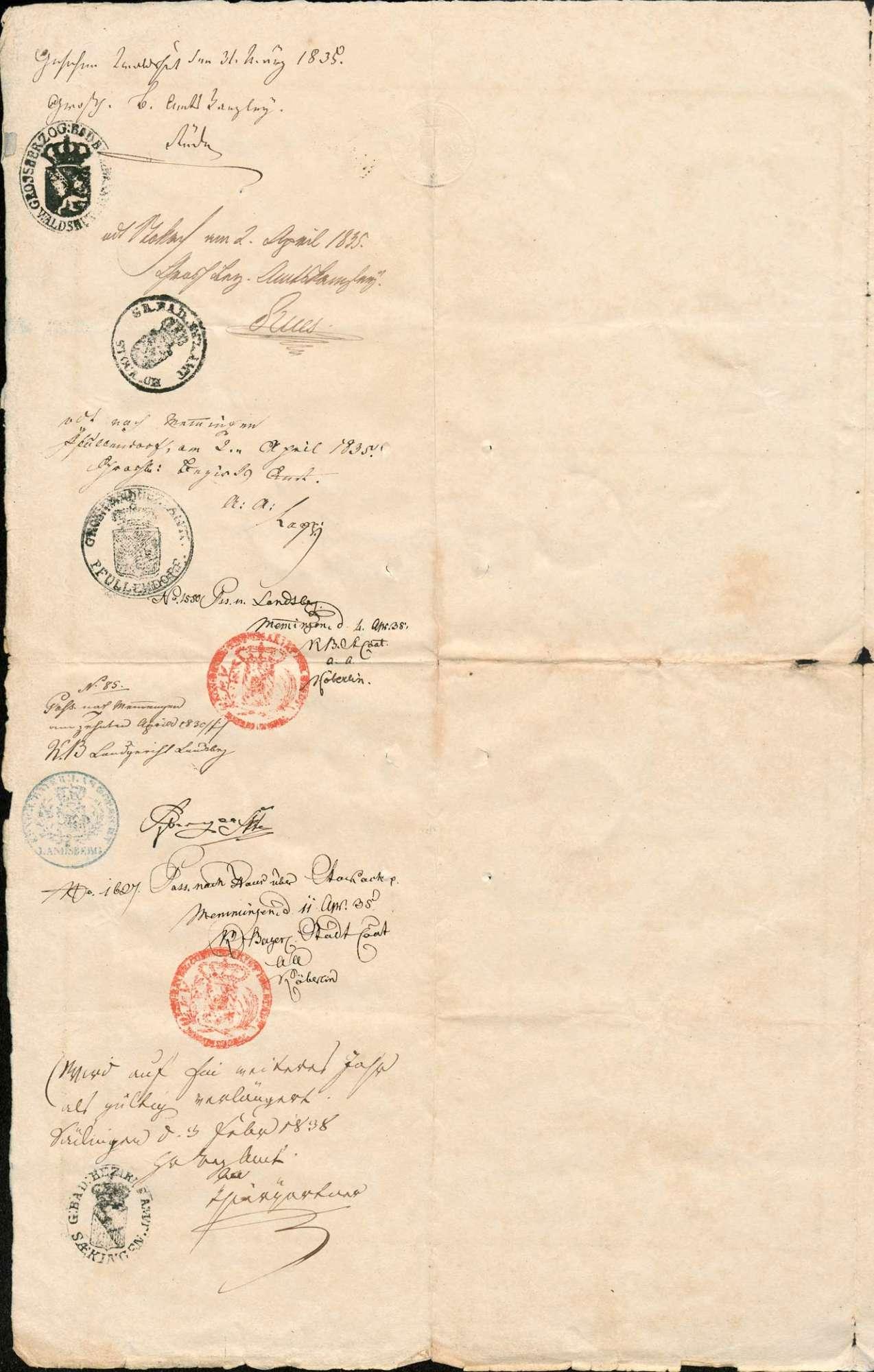 Auswanderung: Kaspar Bernauer, Herrischried, mit Familie nach Walchstadt/Patrimonialgericht Seefeld (Königreich Bayern), Bild 1