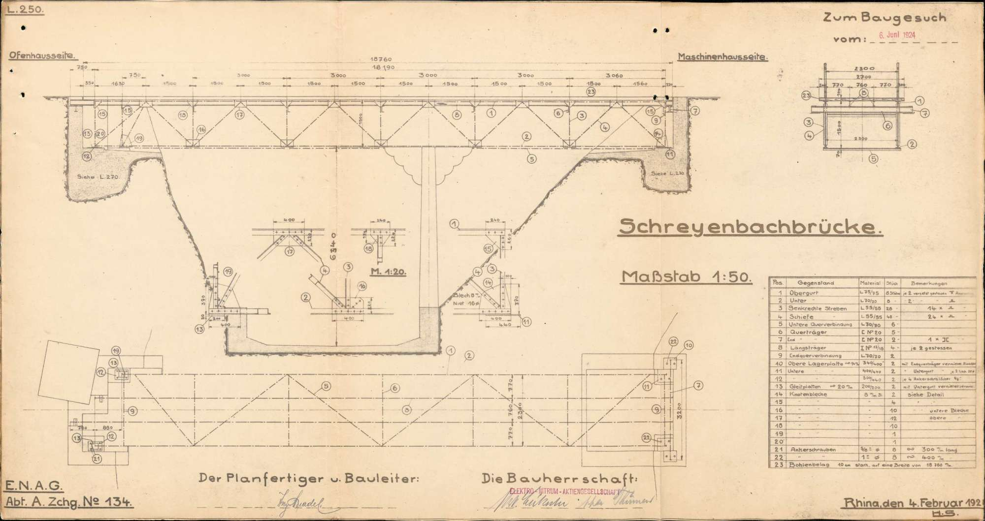 Baugesuch der Elektro-Nitrum AG in Rhina zur Errichtung einer Brücke über den Schreiebach, Bild 2