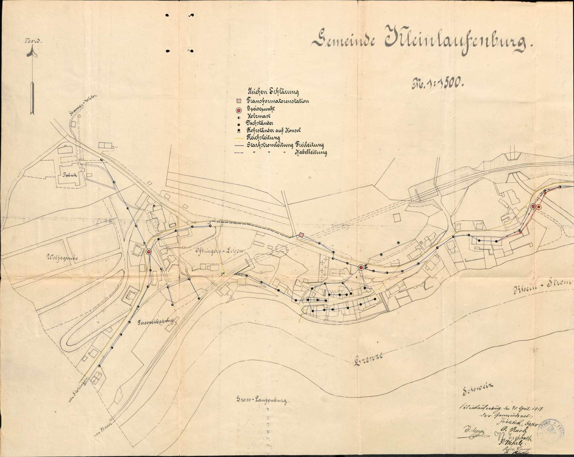 Versorgung der Stadt Kleinlaufenburg bzw. Laufenburg (Baden) mit elektrischer Energie, insbesondere Verlegung elektrischer Leitungen, Bild 3
