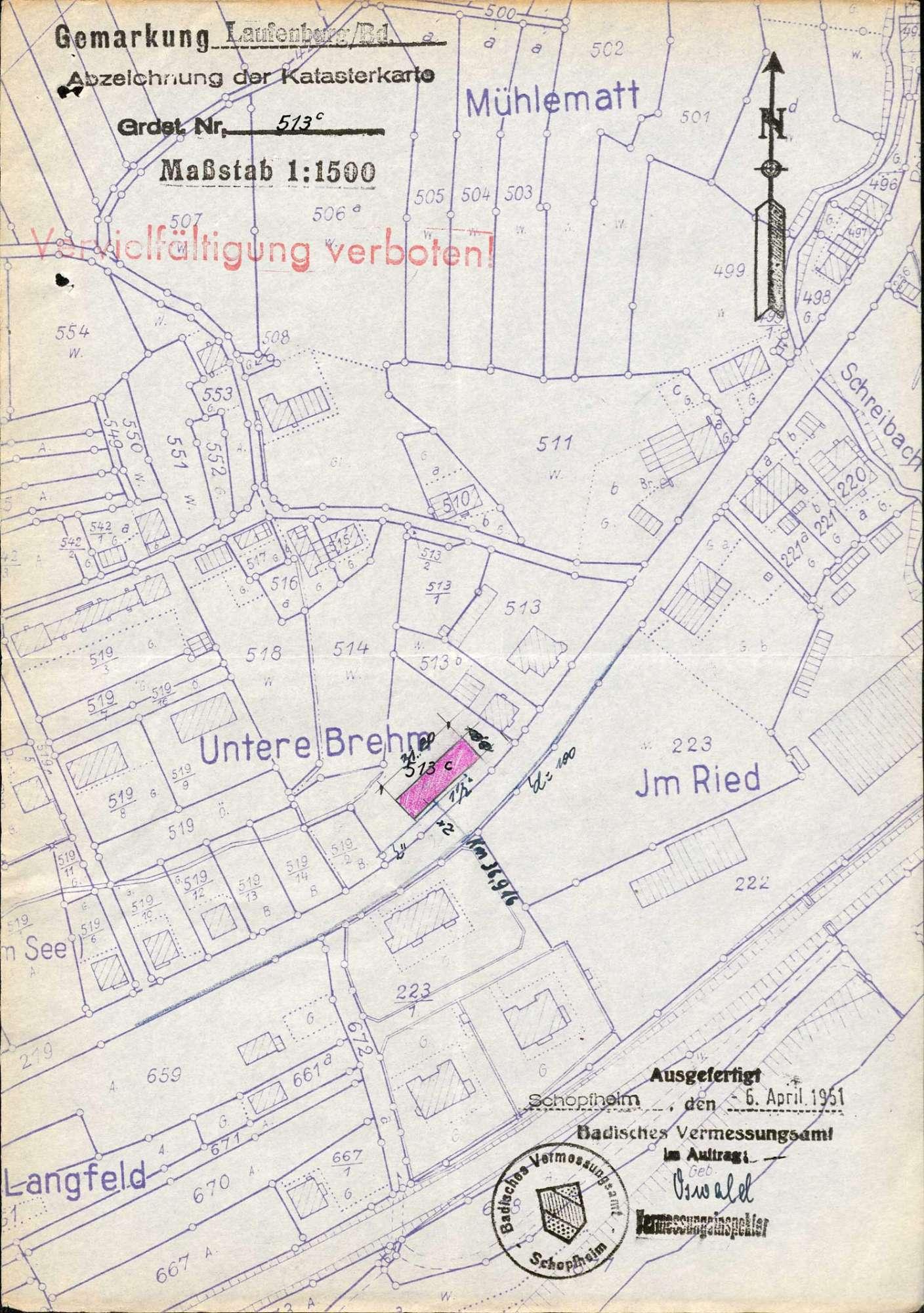 Gesuch der Gemeinnützigen Baugenossenschaft an das Straßenbauamt Lörrach um Aufbrechung der Bundesstraßen 219 und 34 zwecks Verlegung der Wasserleitung in Laufenburg (Baden), Bild 2