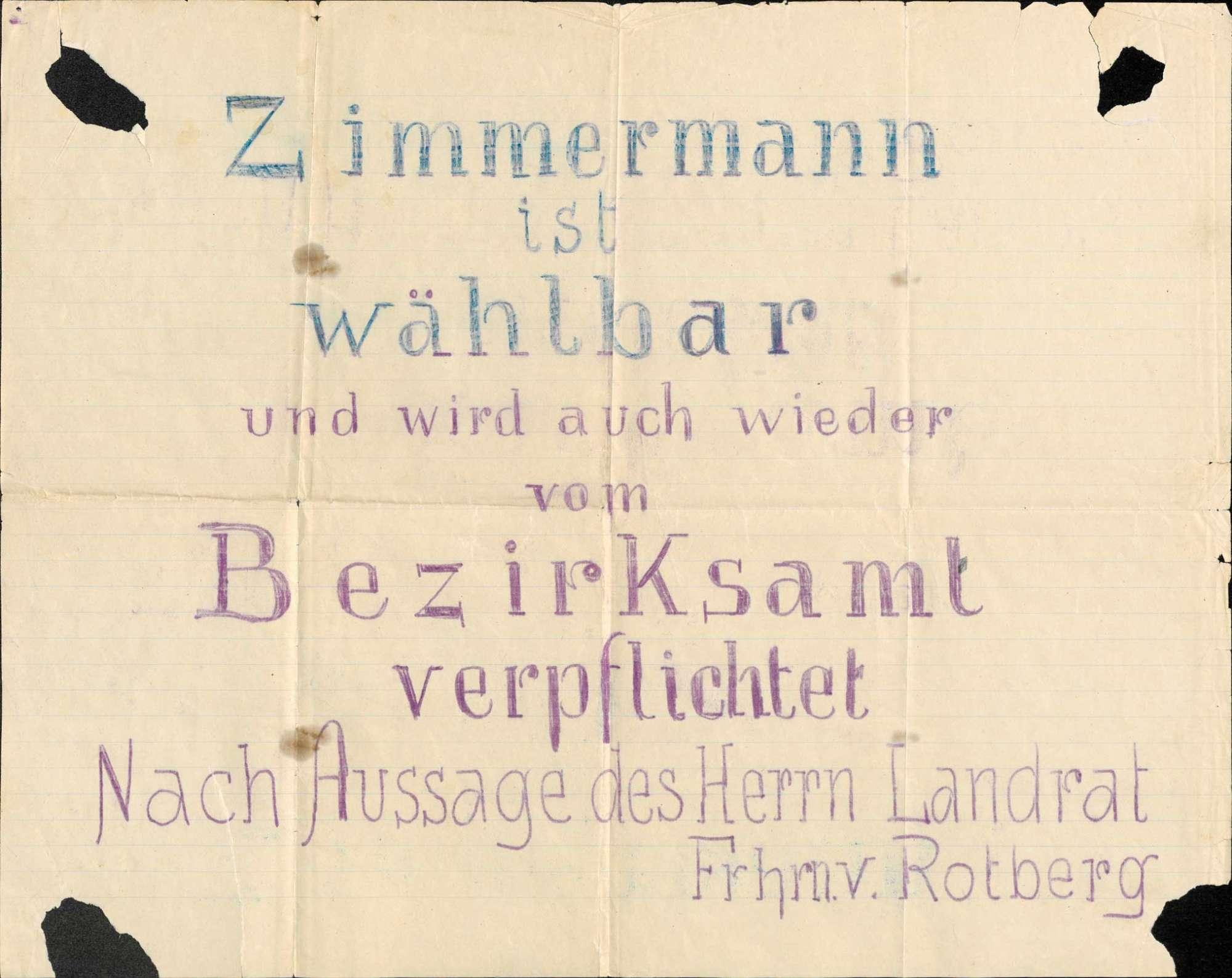 Plakate, Arbeitszeugnisse und Briefe in Bezug auf das Dienststrafverfahren gegen Eduard Zimmermann, Bürgermeister der Gemeinde Rhina, Bild 2
