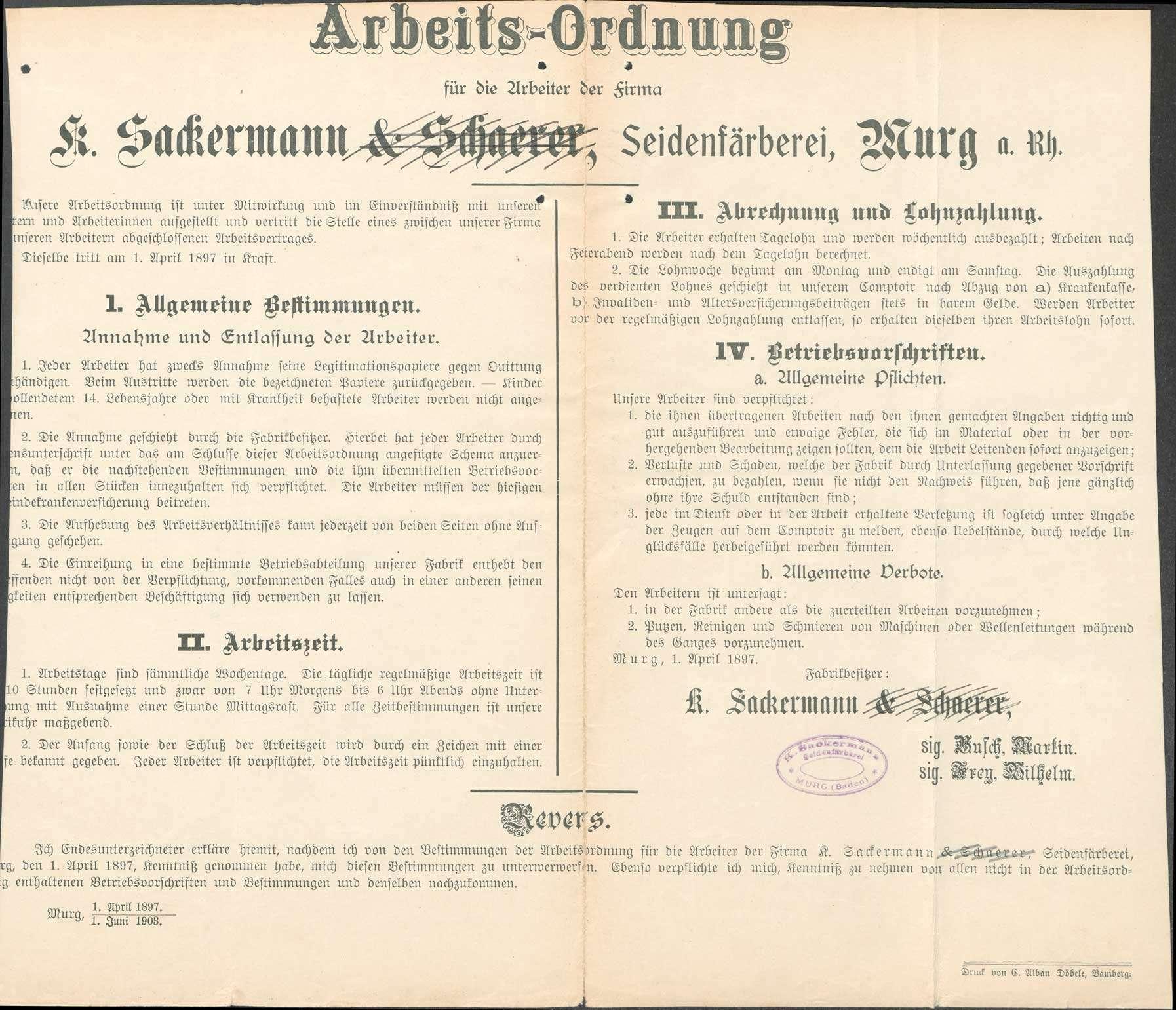 Erlassung einer Arbeitsordnung für die Firma Sackermann und Willy in Murg, Bild 1