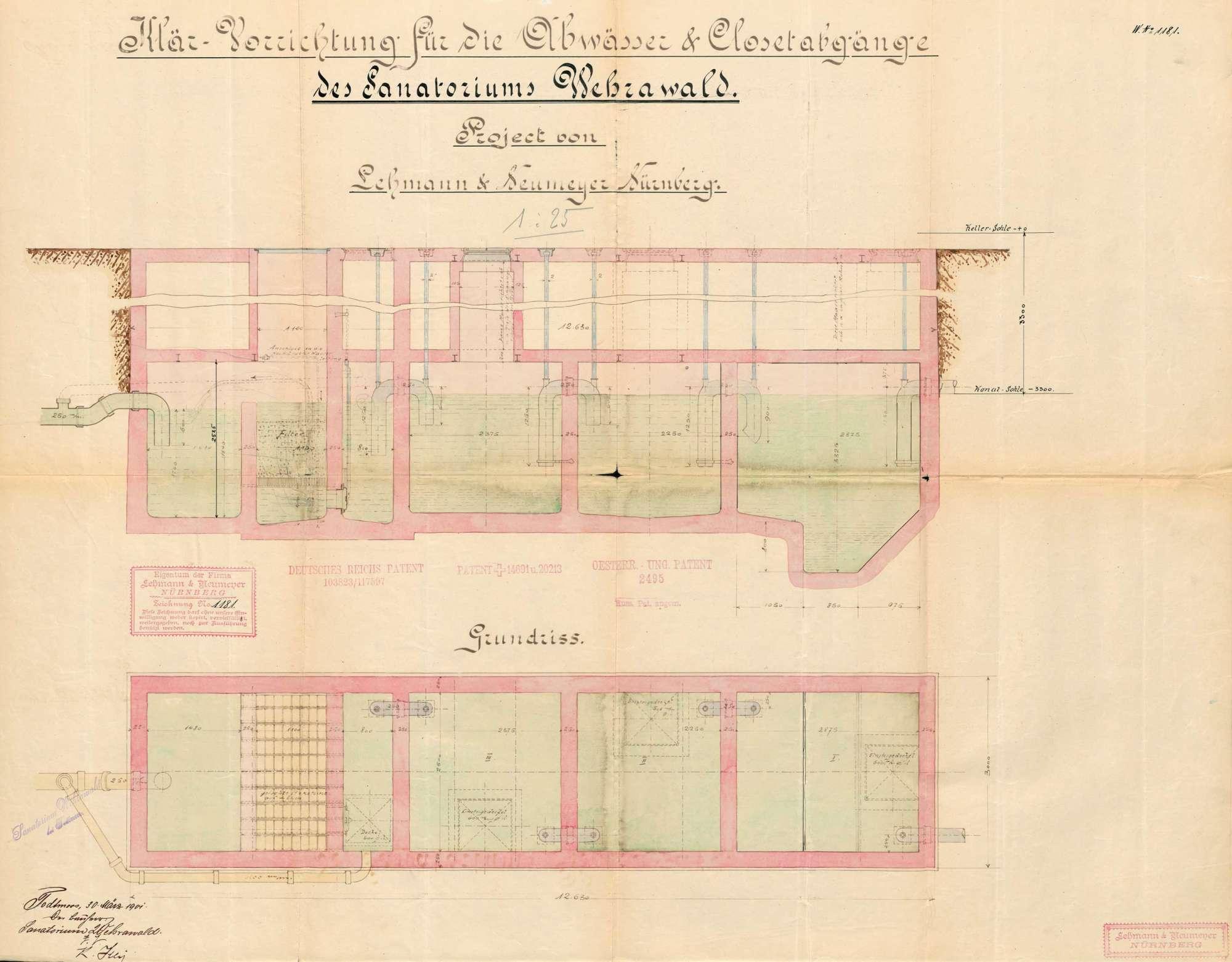 Pläne des Sanatoriums Wehrawald in St. Blasien zur Errichtung einer Kläranlage zum Betrieb einer Lungenheilanstalt in Todtmoos, Bild 3