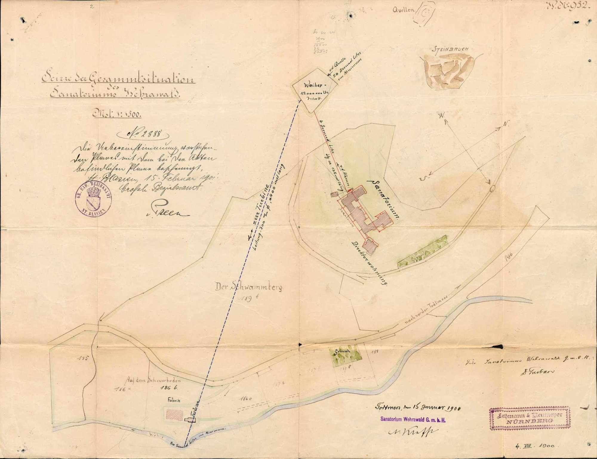 Pläne des Sanatoriums Wehrawald in St. Blasien zur Errichtung einer Kläranlage zum Betrieb einer Lungenheilanstalt in Todtmoos, Bild 2