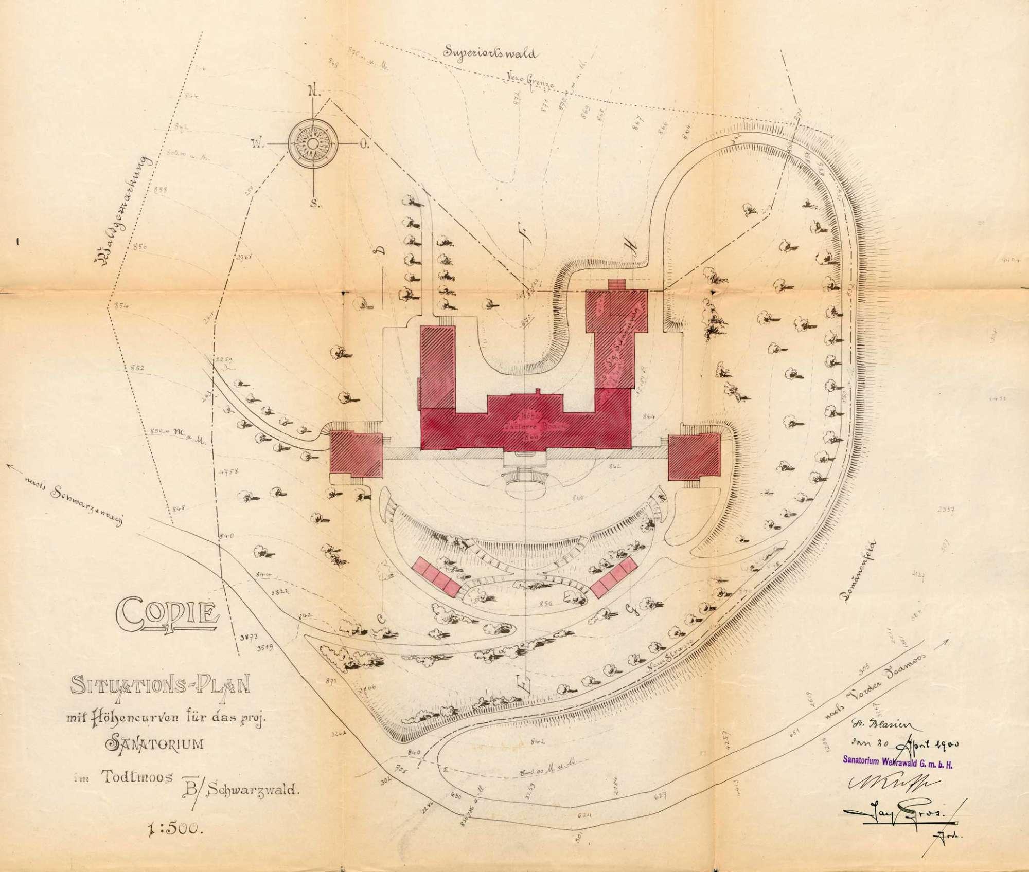 Pläne des Sanatoriums Wehrawald in St. Blasien zur Errichtung einer Kläranlage zum Betrieb einer Lungenheilanstalt in Todtmoos, Bild 1