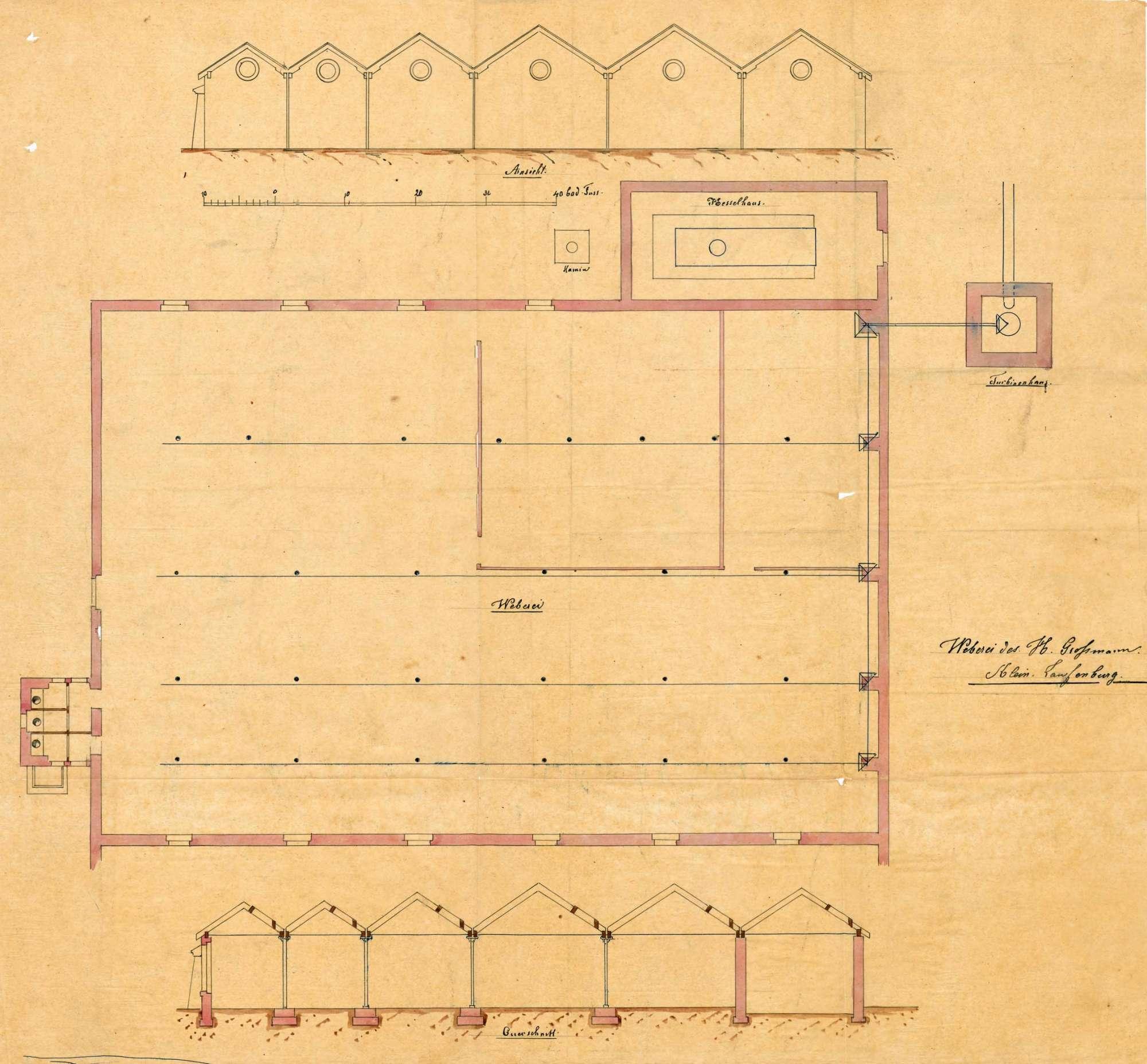 Bau einer mechanischen Weberei durch Alfred Großmann in Kleinlaufenburg, Bild 3