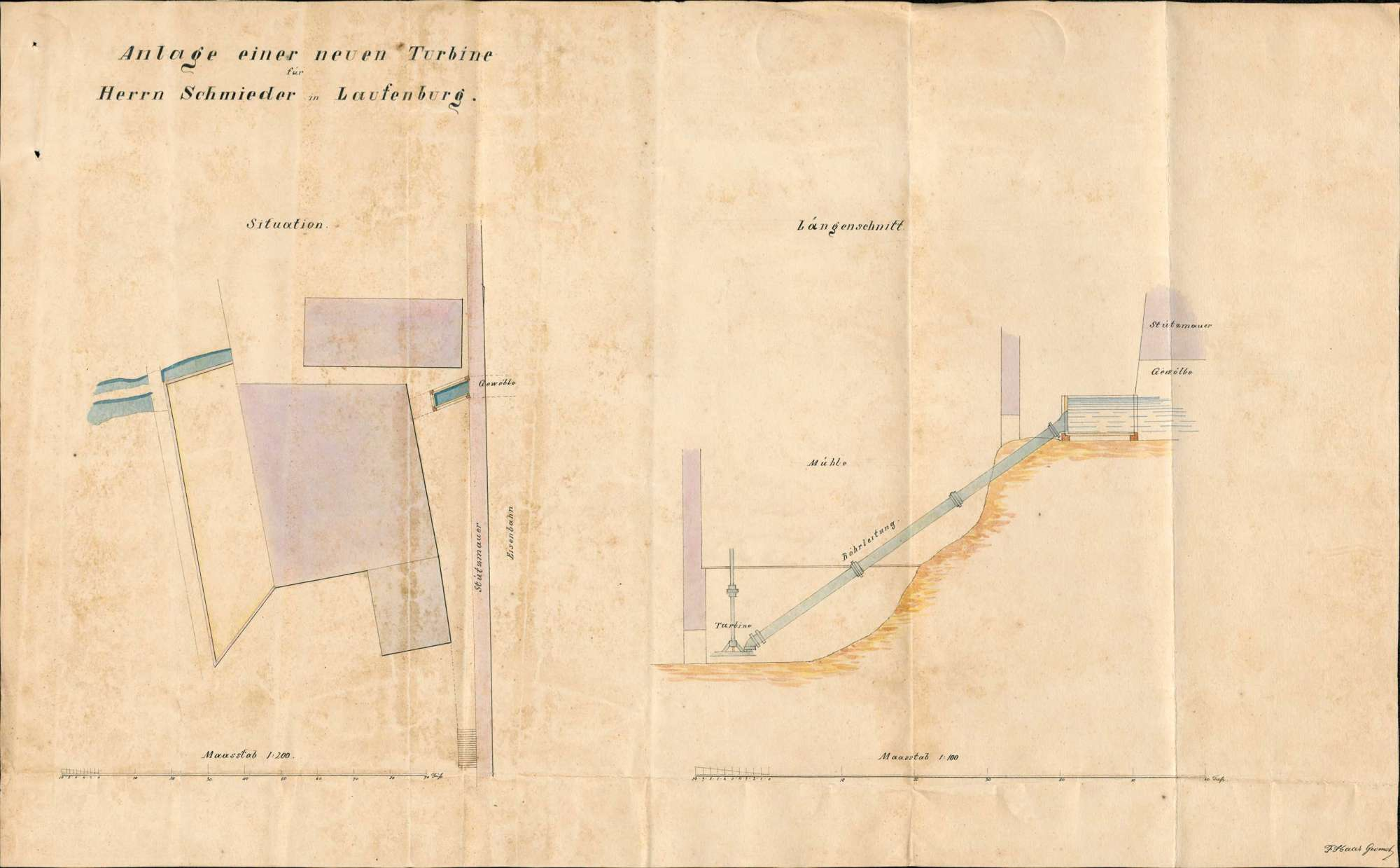 Konzessionsgesuch für den Einbau einer neuen Turbinenanlage in der Mühle des Joseph Schmieder in Kleinlaufenburg, Bild 1