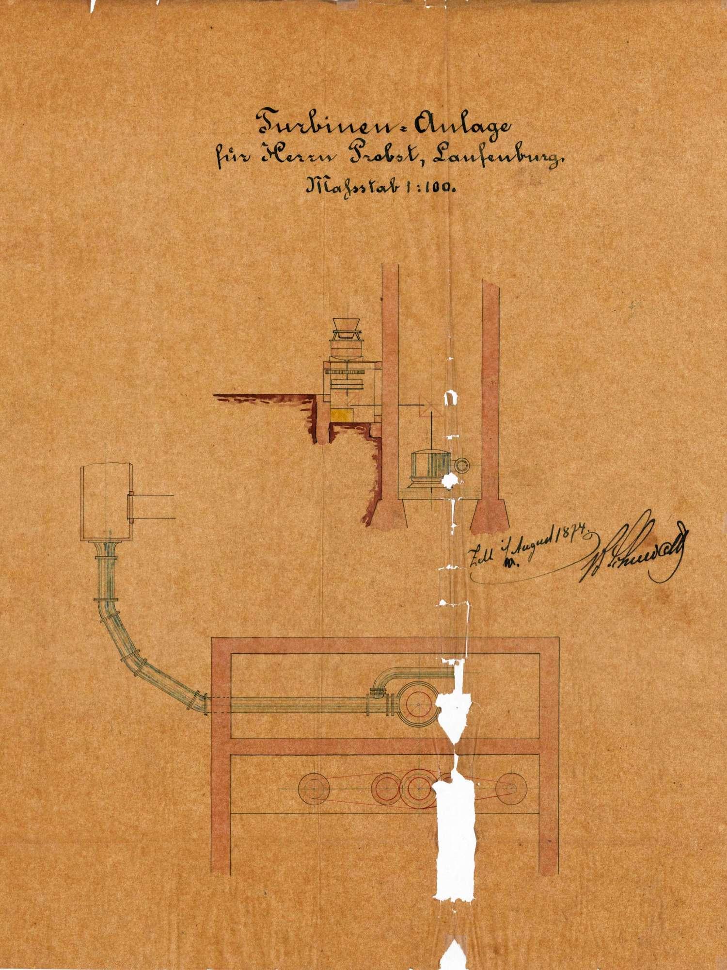 Einbau einer Turbine in der Mühle des Franz Josef Probst in Kleinlaufenburg, Bild 1