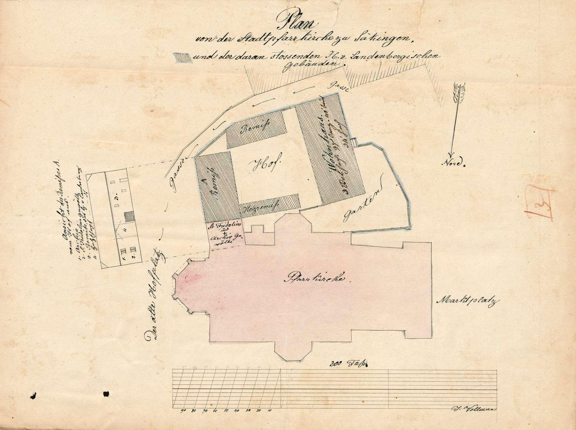 Gesuch des J. Bally-Kym von Schönenwerd/Kanton Solothurn um Staatsgenehmigung zum Betrieb der Seidenbandfabrik in Säckingen sowie zum Ankauf des Freiherrlich von Landenberg