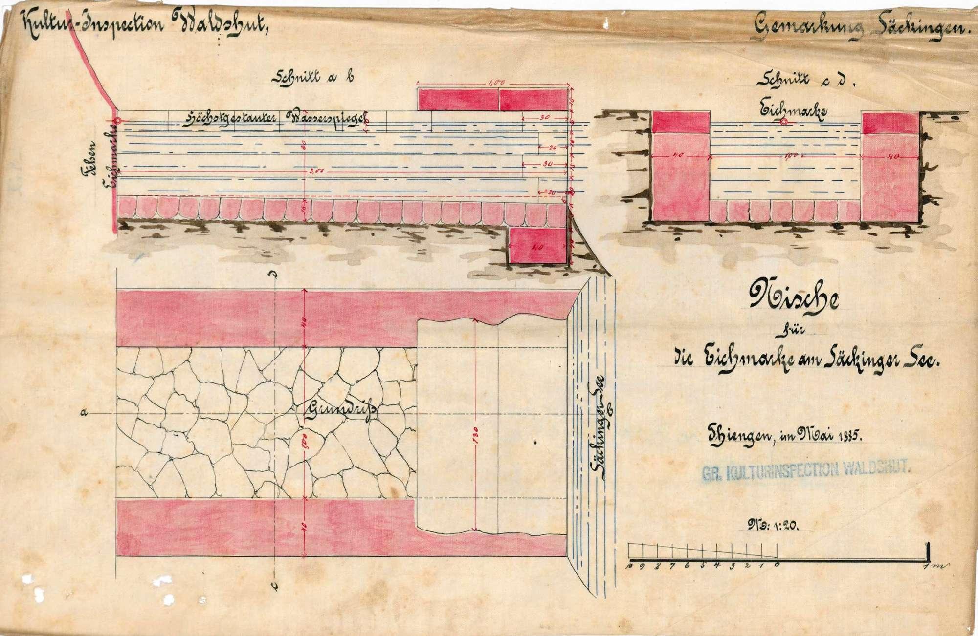 Rechtsverhältnisse bezüglich des Heidenwuhrs und des Bergsees auf Gemarkung Säckingen; Setzung einer Eichmarke am Bergsee/Säckinger See, Bild 1