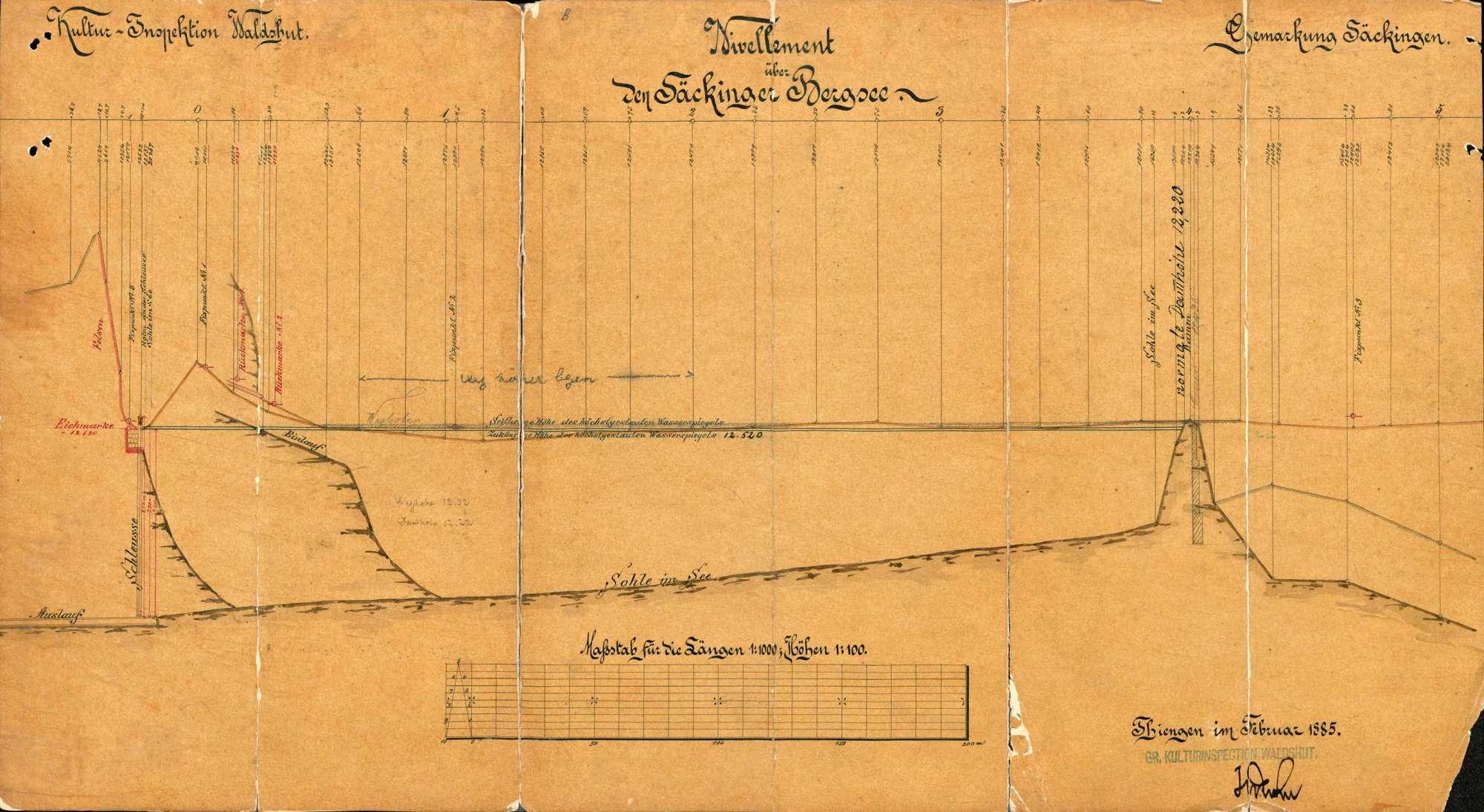 Rechtsverhältnisse bezüglich des Heidenwuhrs und des Bergsees auf Gemarkung Säckingen; Setzung einer Eichmarke am Bergsee/Säckinger See, Bild 3