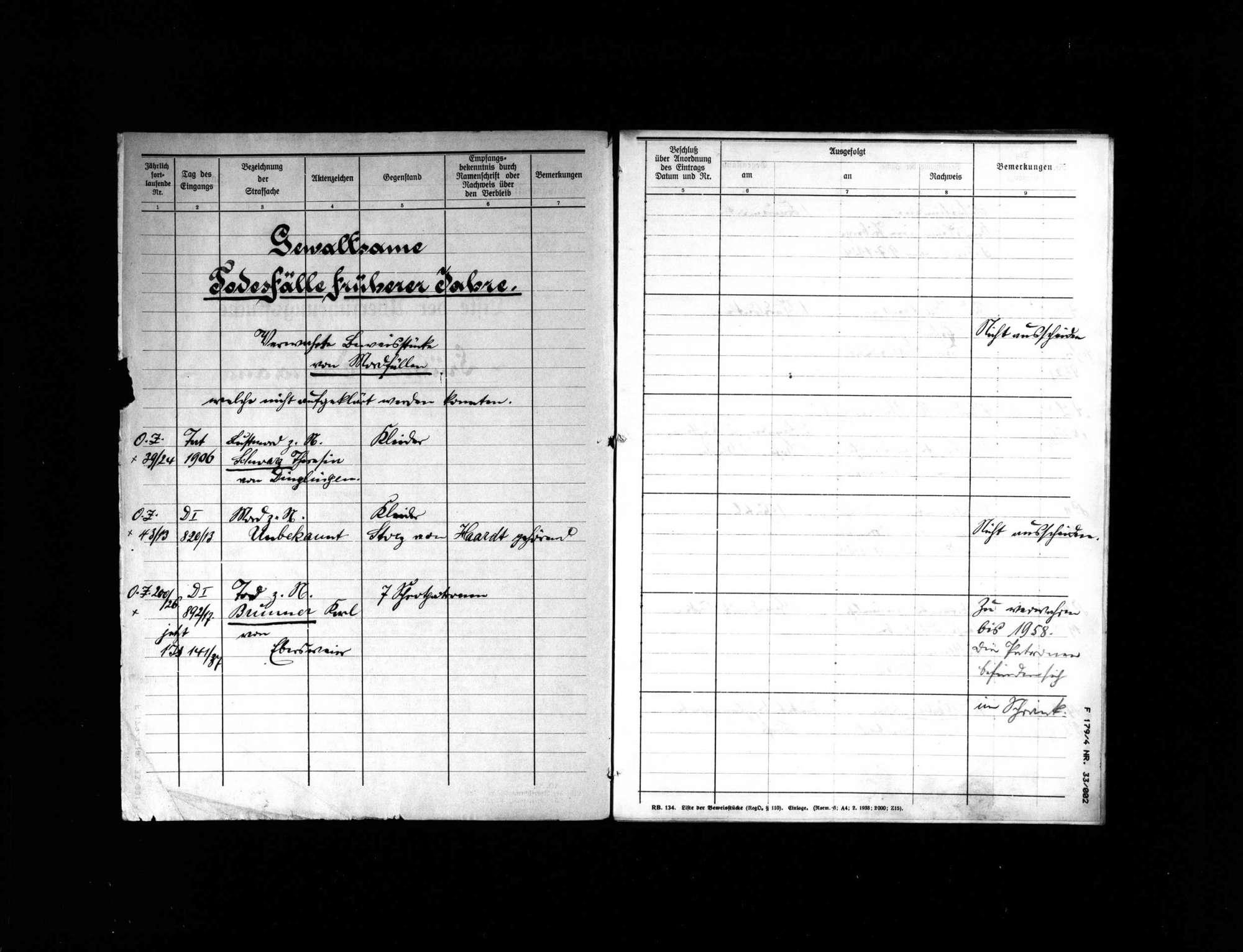 Liste der Überführungsstücke früherer Verbrechen, Bild 2
