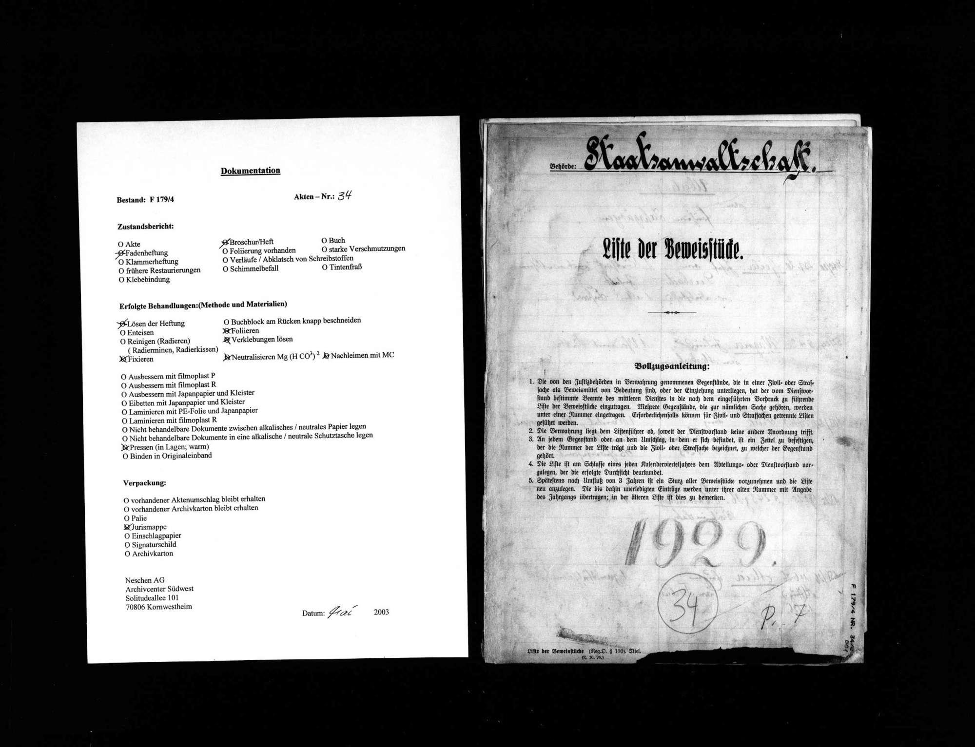 Liste der Beweisstücke anderer Verfahren 1929, Bild 1