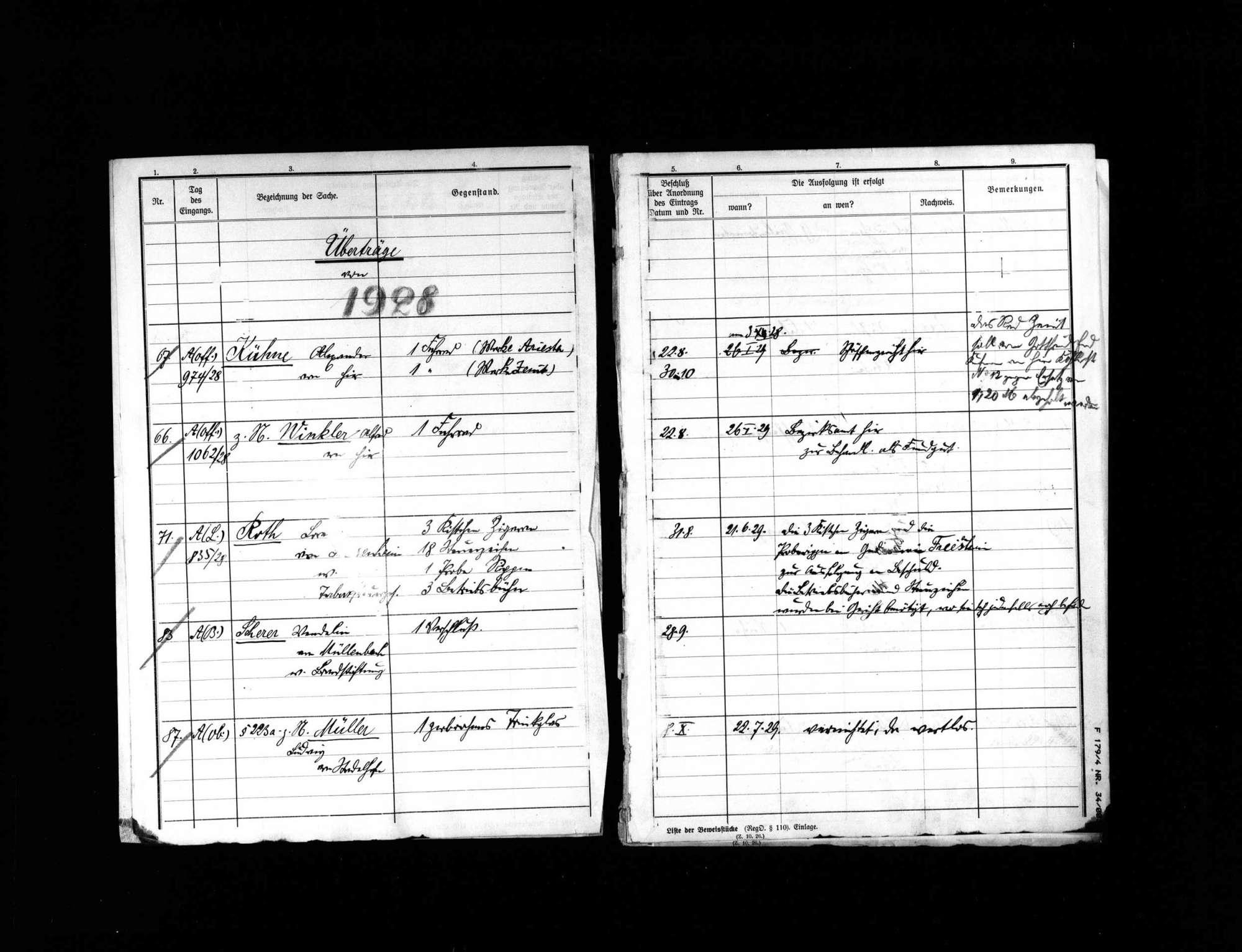 Liste der Beweisstücke anderer Verfahren 1929, Bild 3