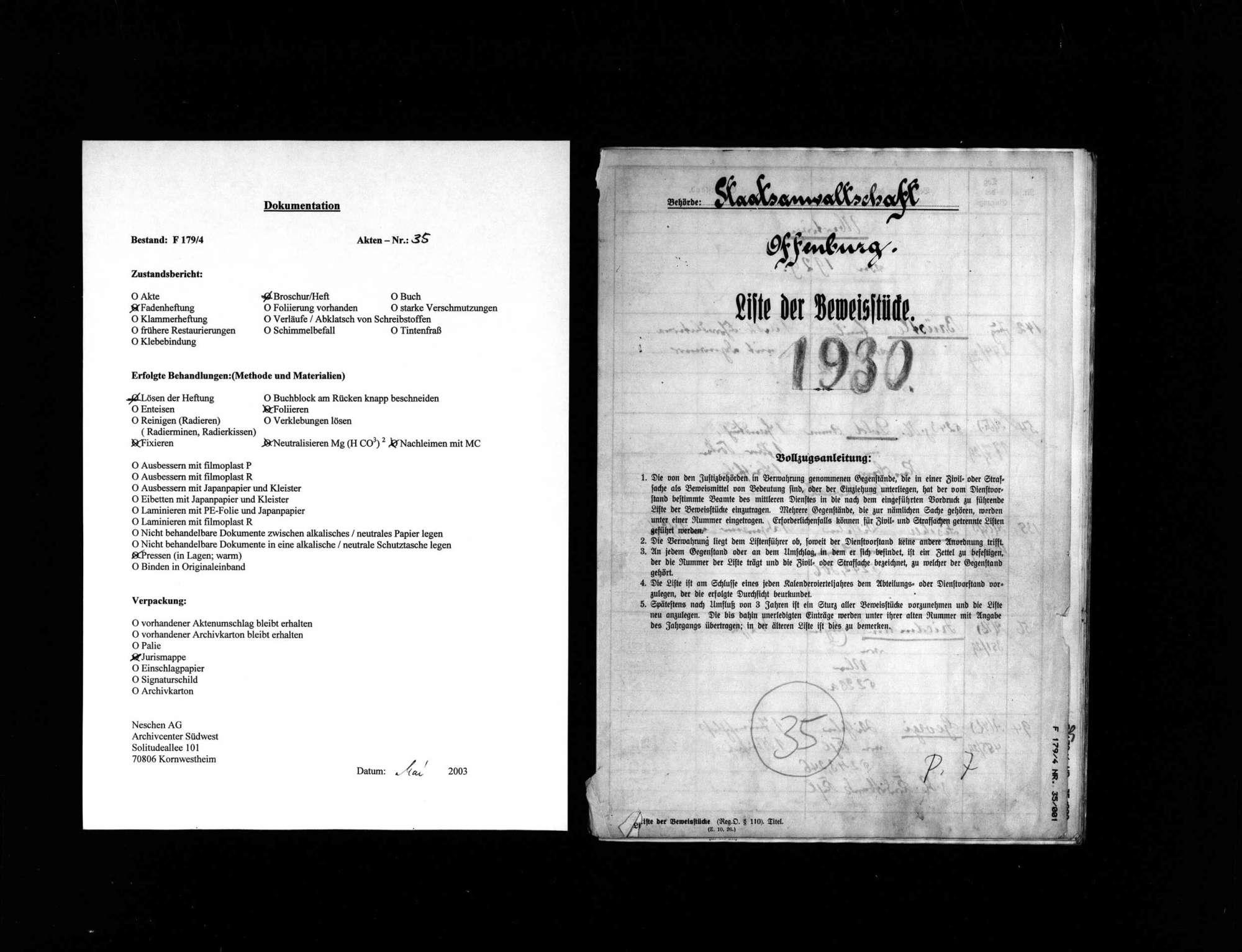 Liste der Beweisstücke anderer Verfahren 1930, Bild 1