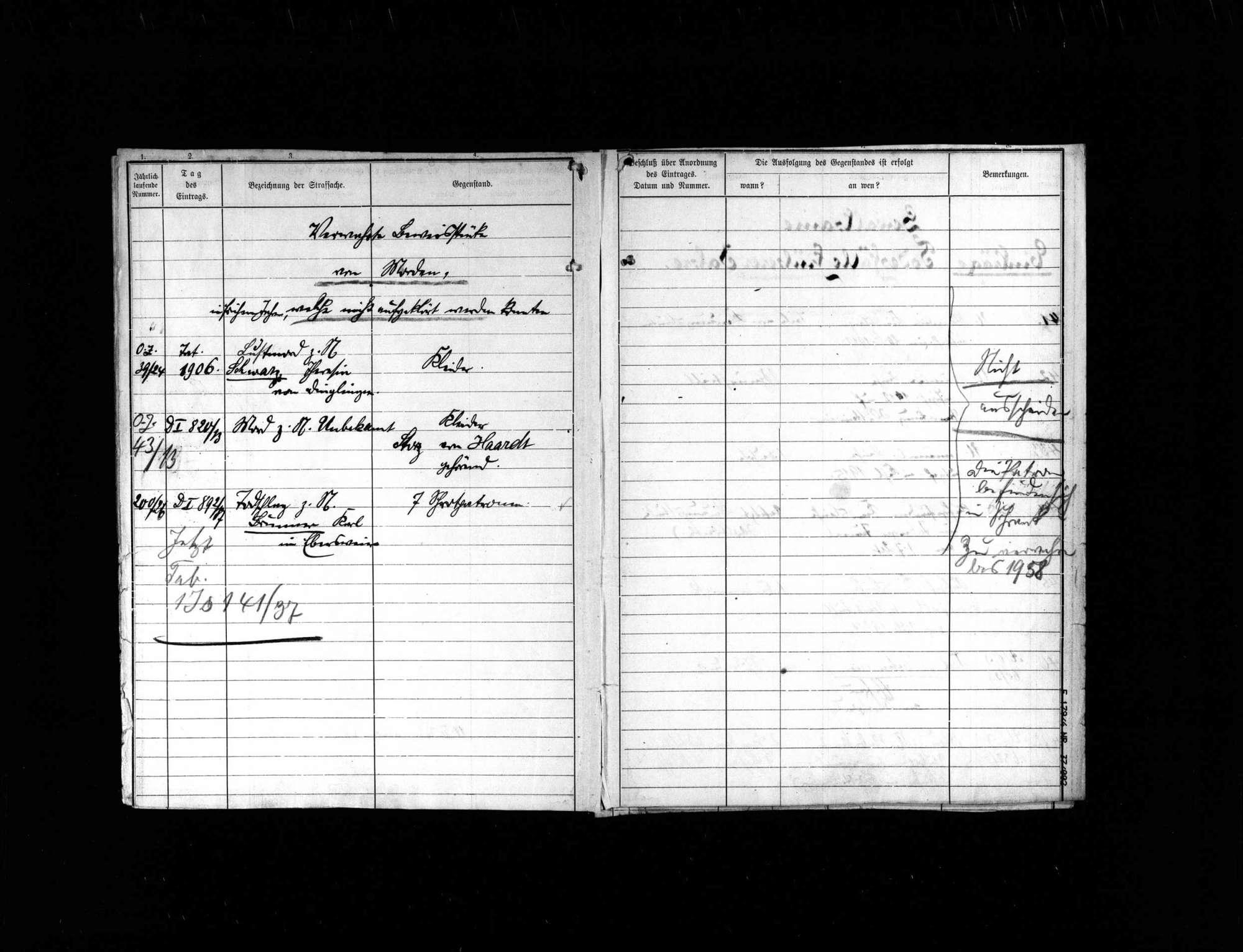 Liste der Beweisstücke in gewaltsamen Todesfällen früherer Jahrgänge, Bild 3