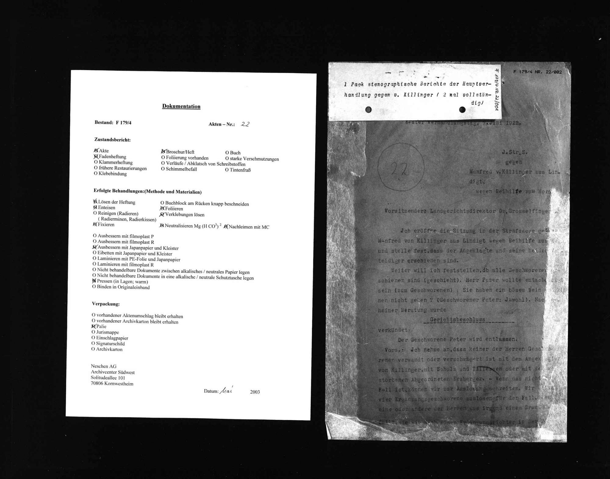 Protokolle der Hauptverhandlung gegen Manfred v. Killinger wegen Beihilfe zum Mord (1. Verhandlungstag), Bild 1