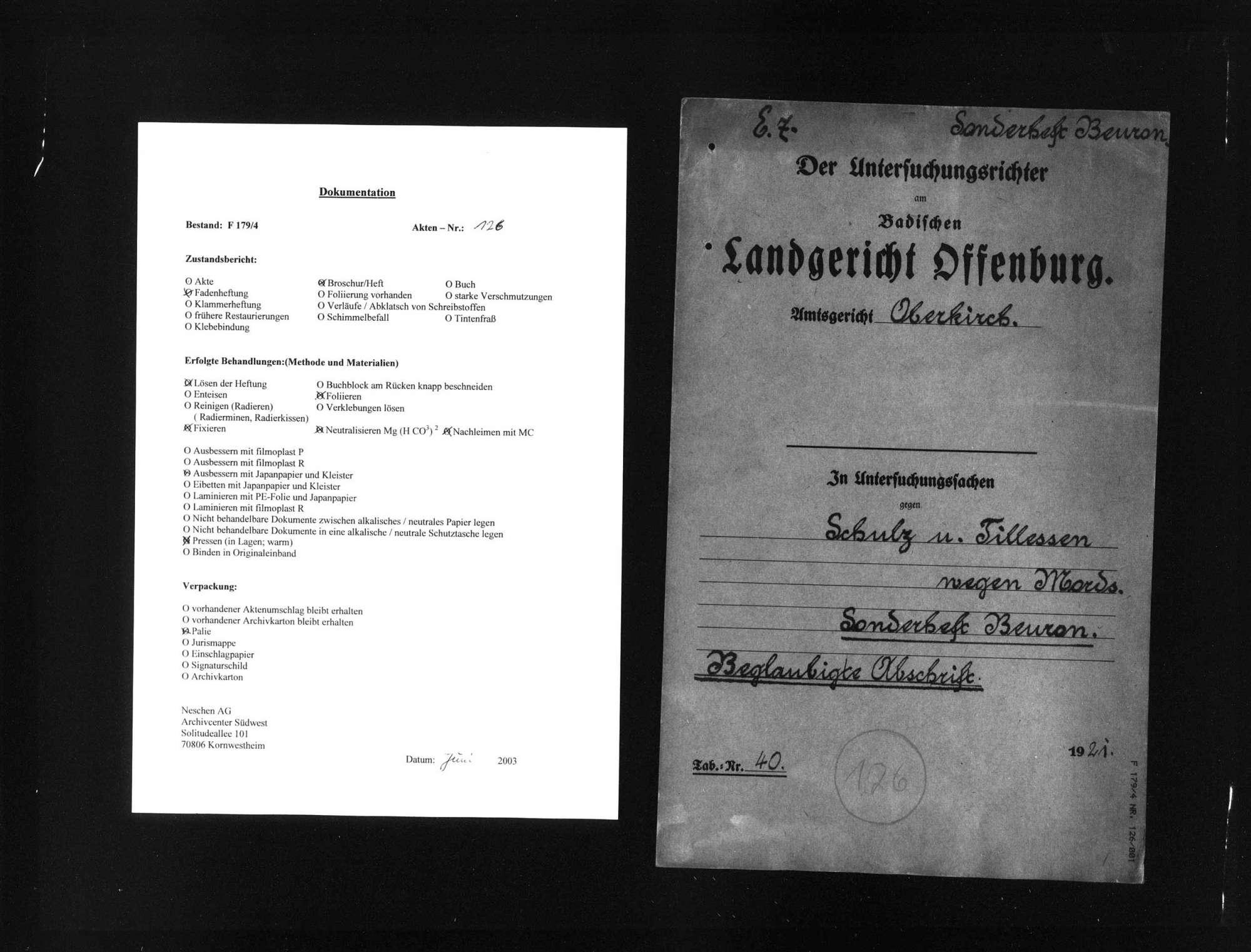 Untersuchungsakten -Sonderheft Beuron (beglaubigte Abschrift), Bild 1