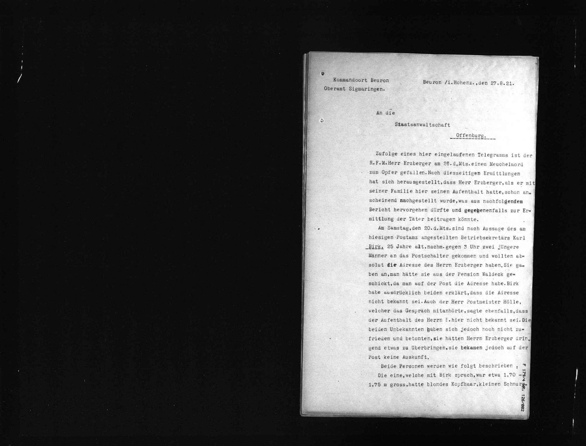 Untersuchungsakten -Sonderheft Beuron (beglaubigte Abschrift), Bild 2
