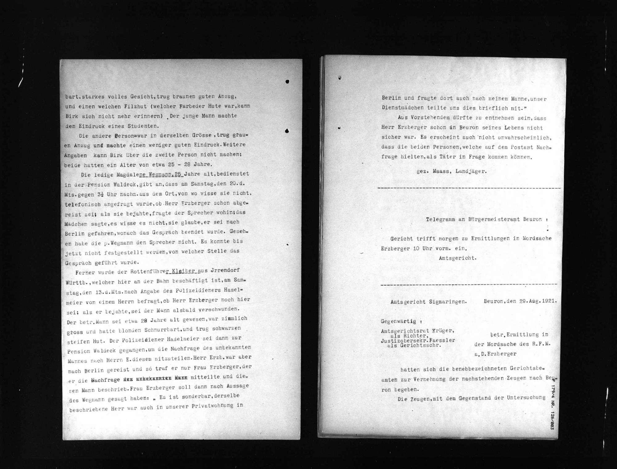 Untersuchungsakten -Sonderheft Beuron (beglaubigte Abschrift), Bild 3