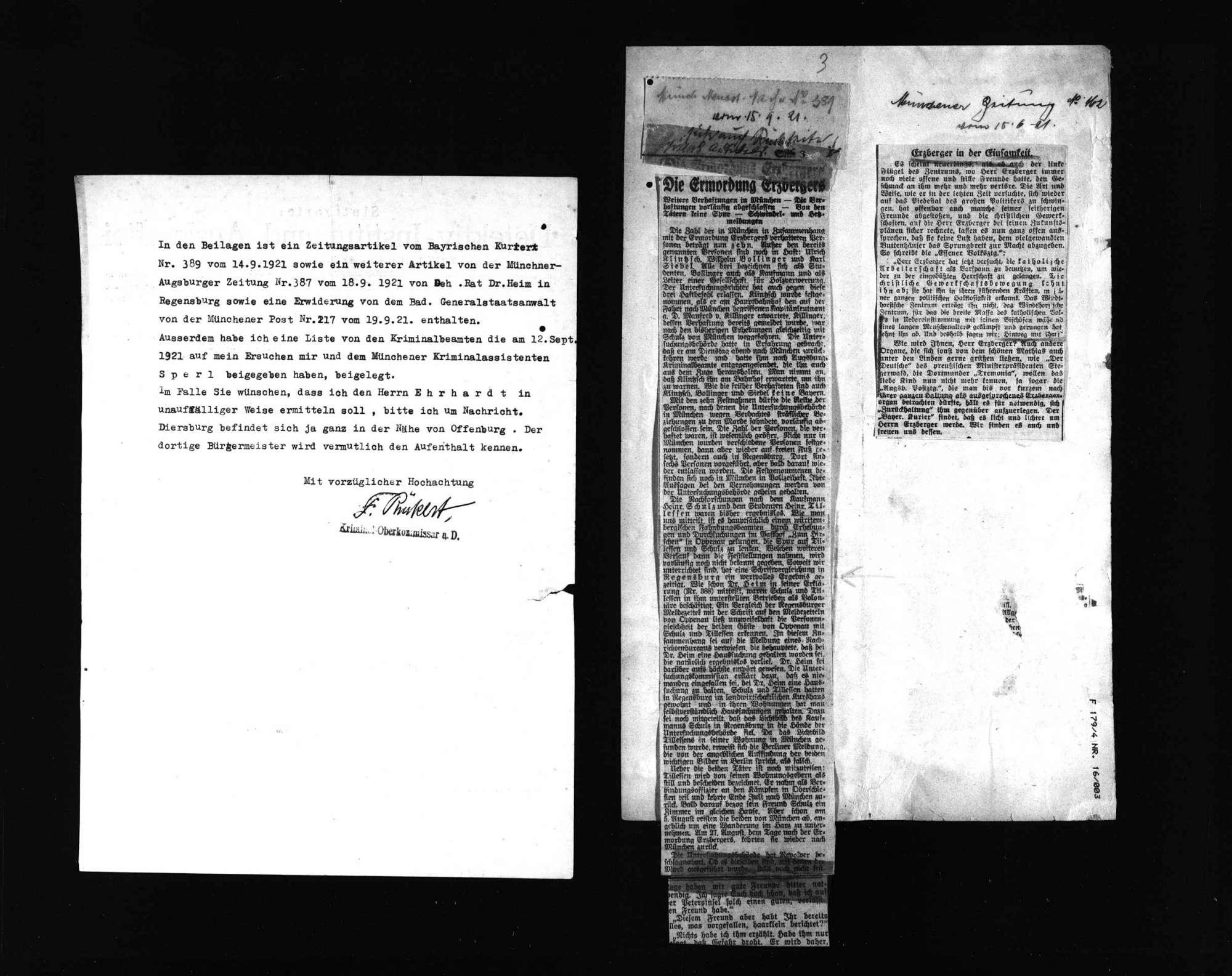 Zeitungsausschnitte über die Ermordung Matthias Erzbergers, Bild 3