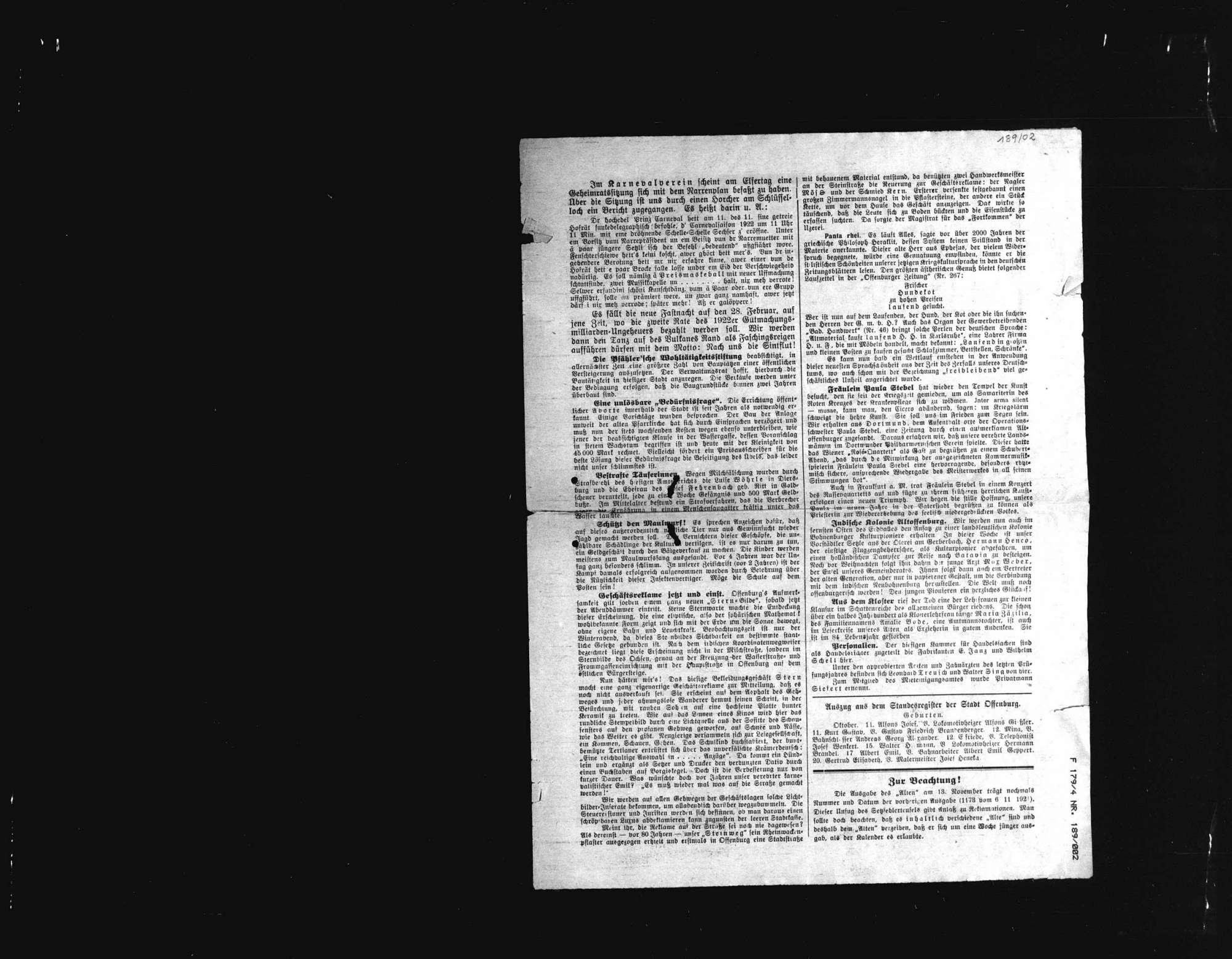 Sammlung von Zeitungsausschnitten und anderen Schriftstücken zum Mordfall Matthias Erzberger, Bild 2
