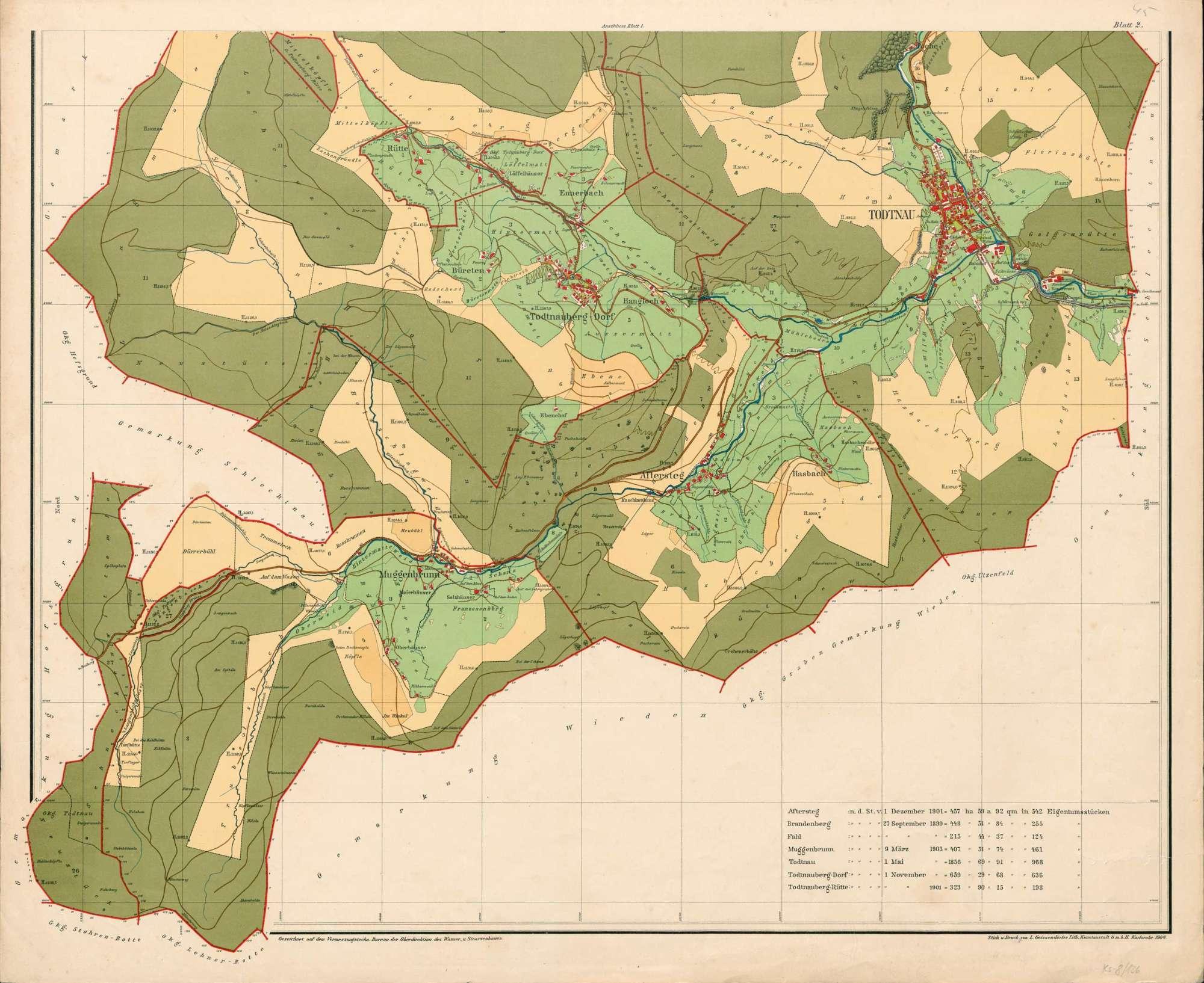 Aftersteg; Brandenberg; Fahl; Muggenbrunn; Todtnau; Todtnauberg (Todtnauberg-Dorf und Todtnauberg-Rütte), Bild 1