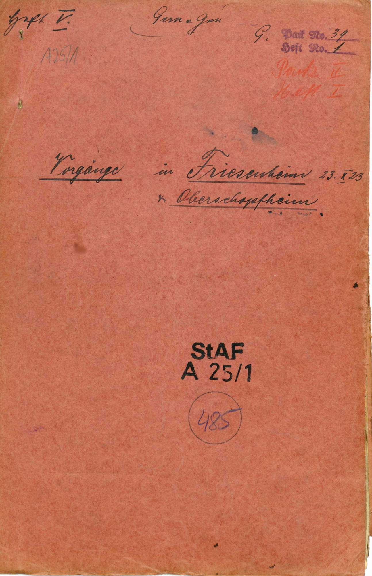 Strafsache gegen Wilhelm Gern, Lahr, und weitere 10 Angeklagte wegen Aufruhr, Teilnahme an bewaffneten Haufen, unerlaubter Waffenbesitz, Widerstand (Lahrer Unruhen, Oktober 1923), Bild 1